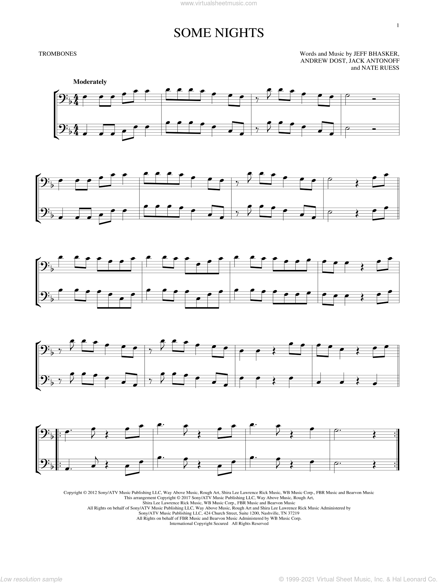Some Nights sheet music for two trombones (duet, duets) by Fun, Andrew Dost, Jack Antonoff, Jeff Bhasker and Nate Ruess, intermediate skill level