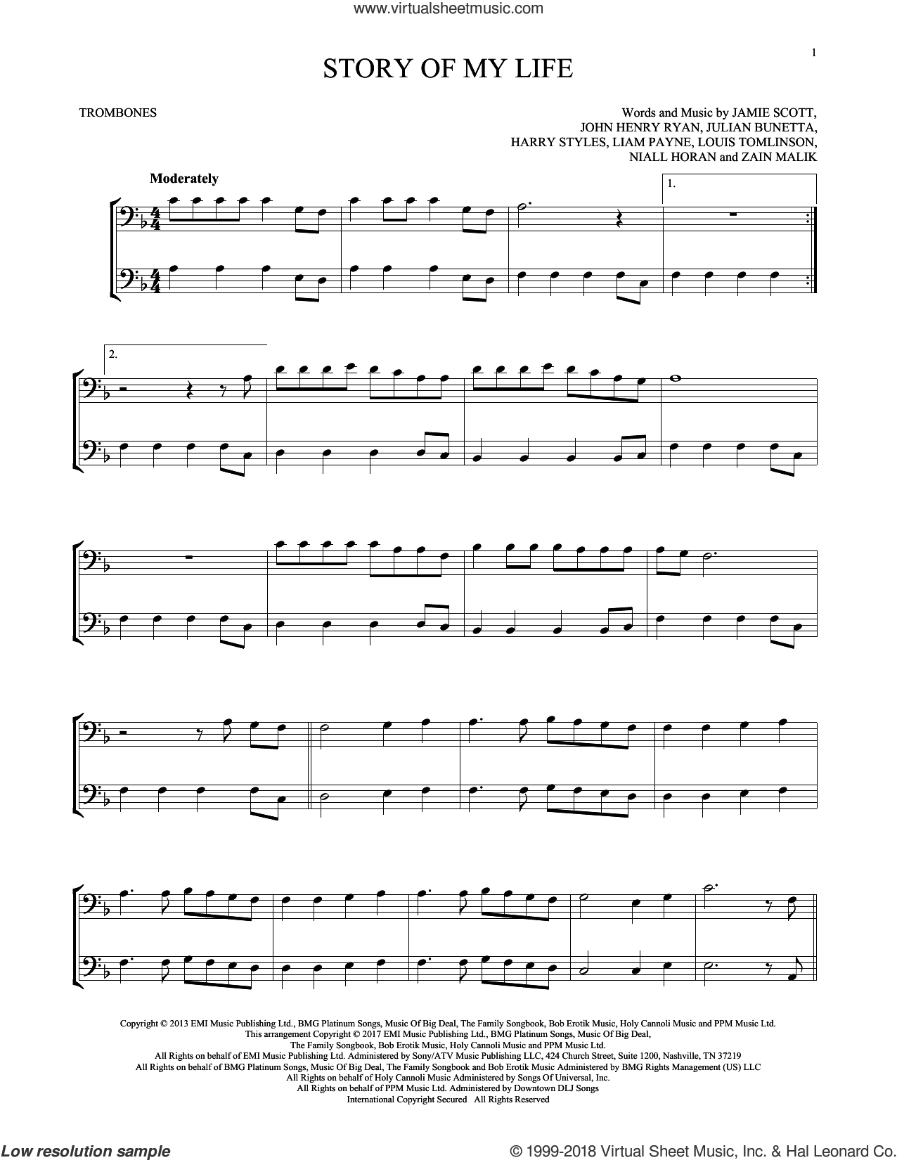Story Of My Life sheet music for two trombones (duet, duets) by One Direction, Harry Styles, Jamie Scott, John Henry Ryan, Julian Bunetta, Liam Payne, Louis Tomlinson, Niall Horan and Zain Malik, intermediate skill level