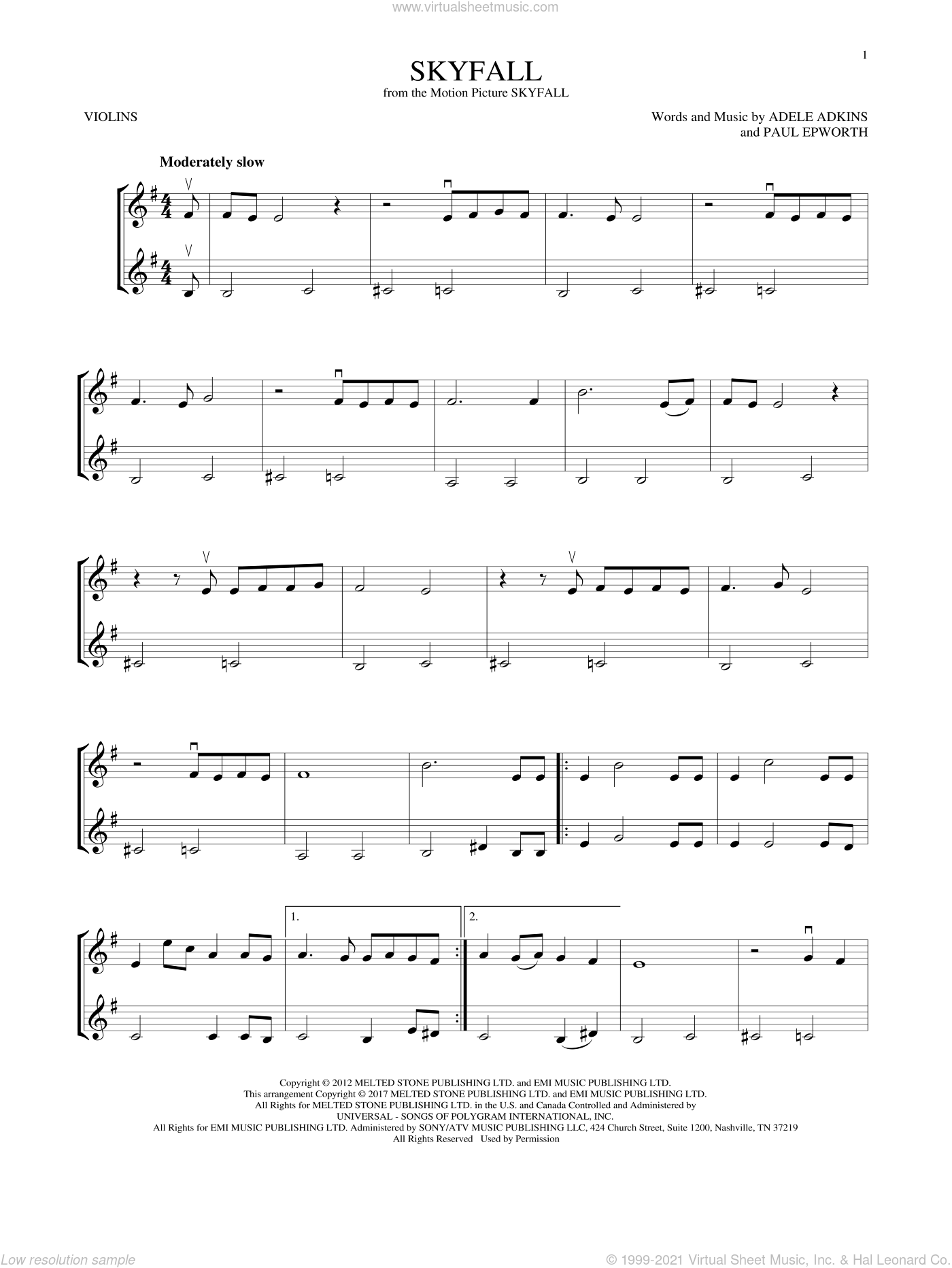 Skyfall sheet music for two violins (duets, violin duets) by Adele, Adele Adkins and Paul Epworth, intermediate skill level