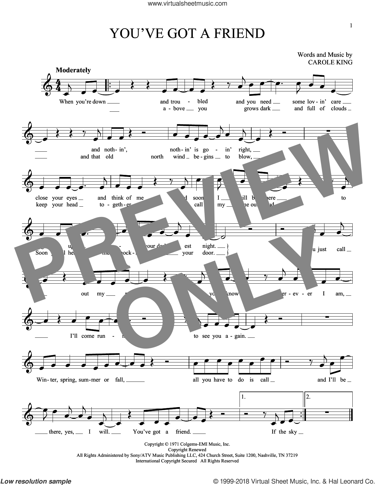 You've Got A Friend sheet music for ocarina solo by James Taylor and Carole King, intermediate skill level