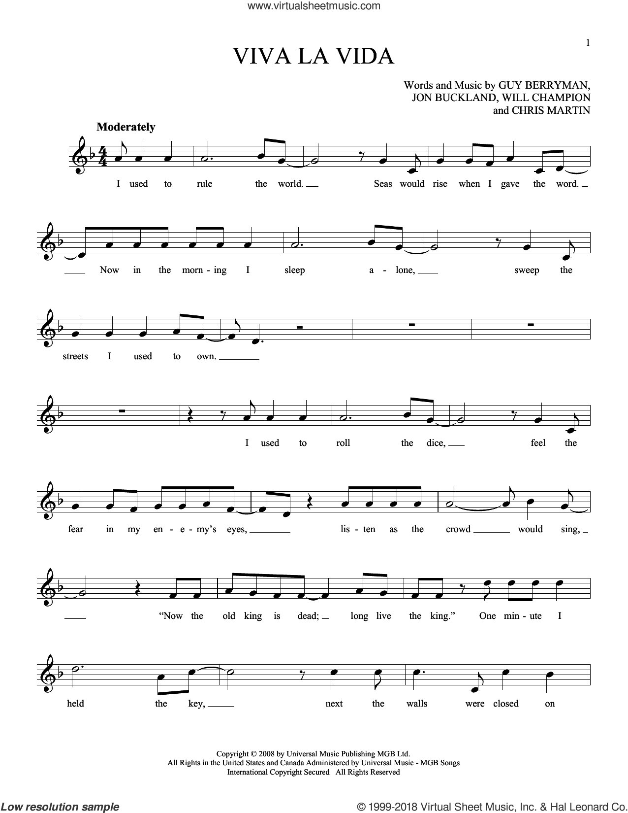 Viva La Vida sheet music for ocarina solo by Chris Martin, Coldplay, Guy Berryman, Jon Buckland and Will Champion, intermediate skill level