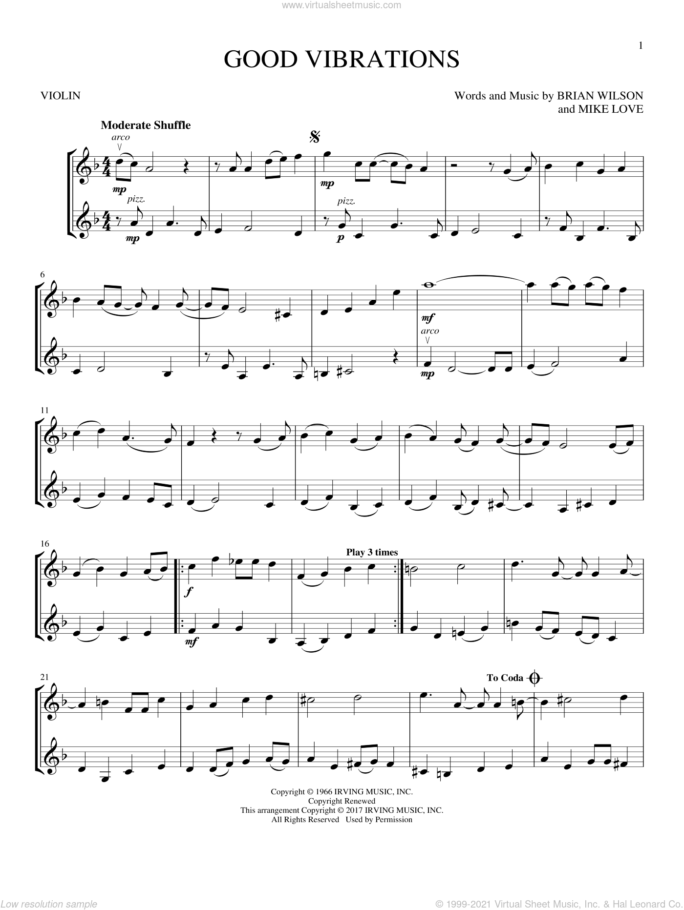 Good Vibrations sheet music for two violins (duets, violin duets) by The Beach Boys, Brian Wilson and Mike Love, intermediate skill level