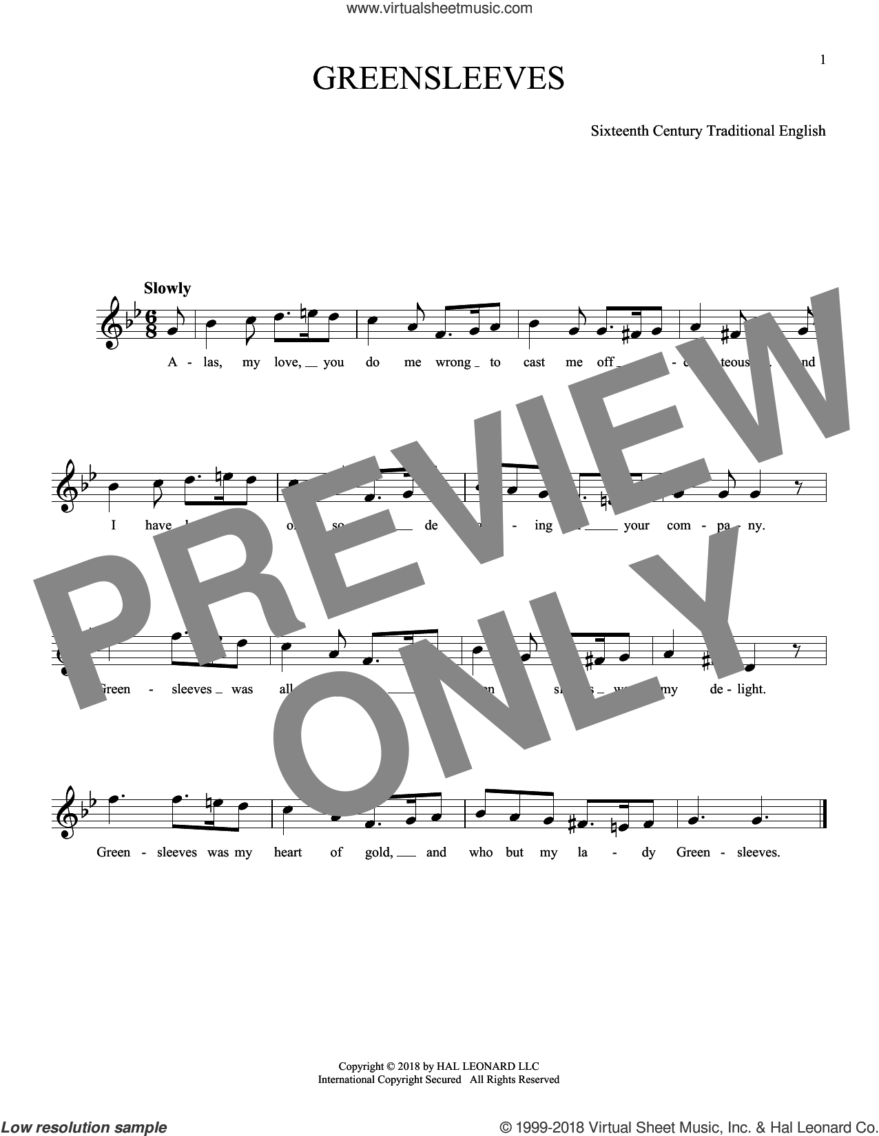 Greensleeves sheet music for ocarina solo, intermediate skill level