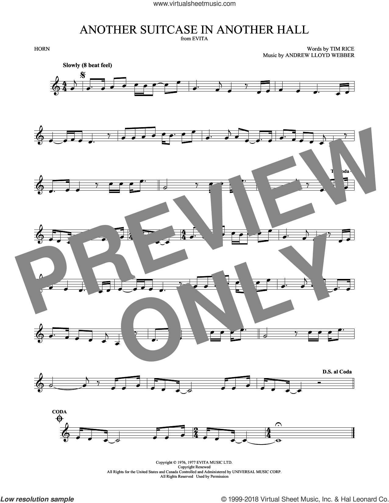 Another Suitcase In Another Hall sheet music for horn solo by Andrew Lloyd Webber and Tim Rice, intermediate skill level