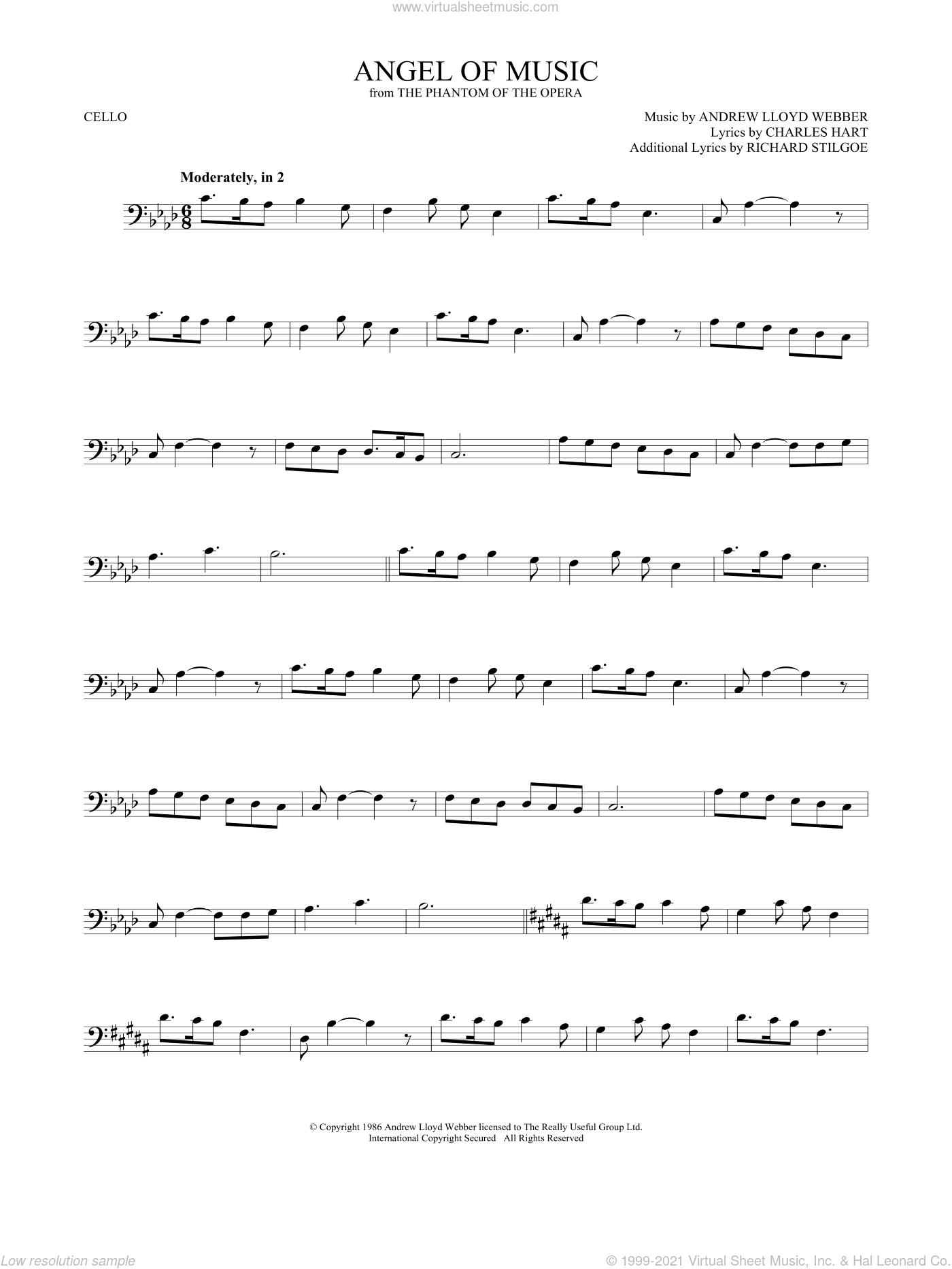 Angel Of Music (from The Phantom Of The Opera) sheet music for cello solo by Andrew Lloyd Webber, Charles Hart and Richard Stilgoe, intermediate skill level