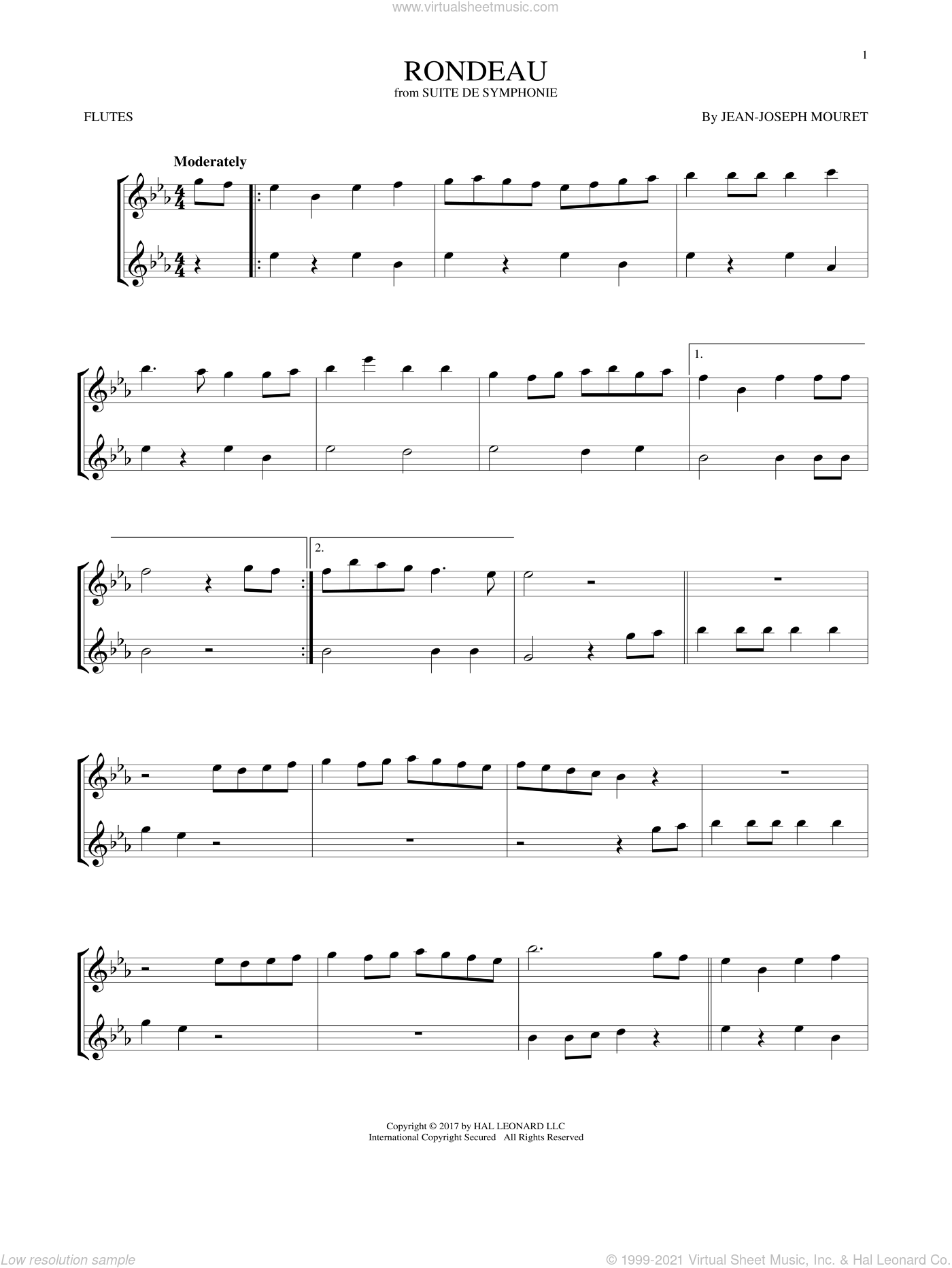 Fanfare Rondeau sheet music for two flutes (duets) by Jean-Joseph Mouret, classical score, intermediate skill level