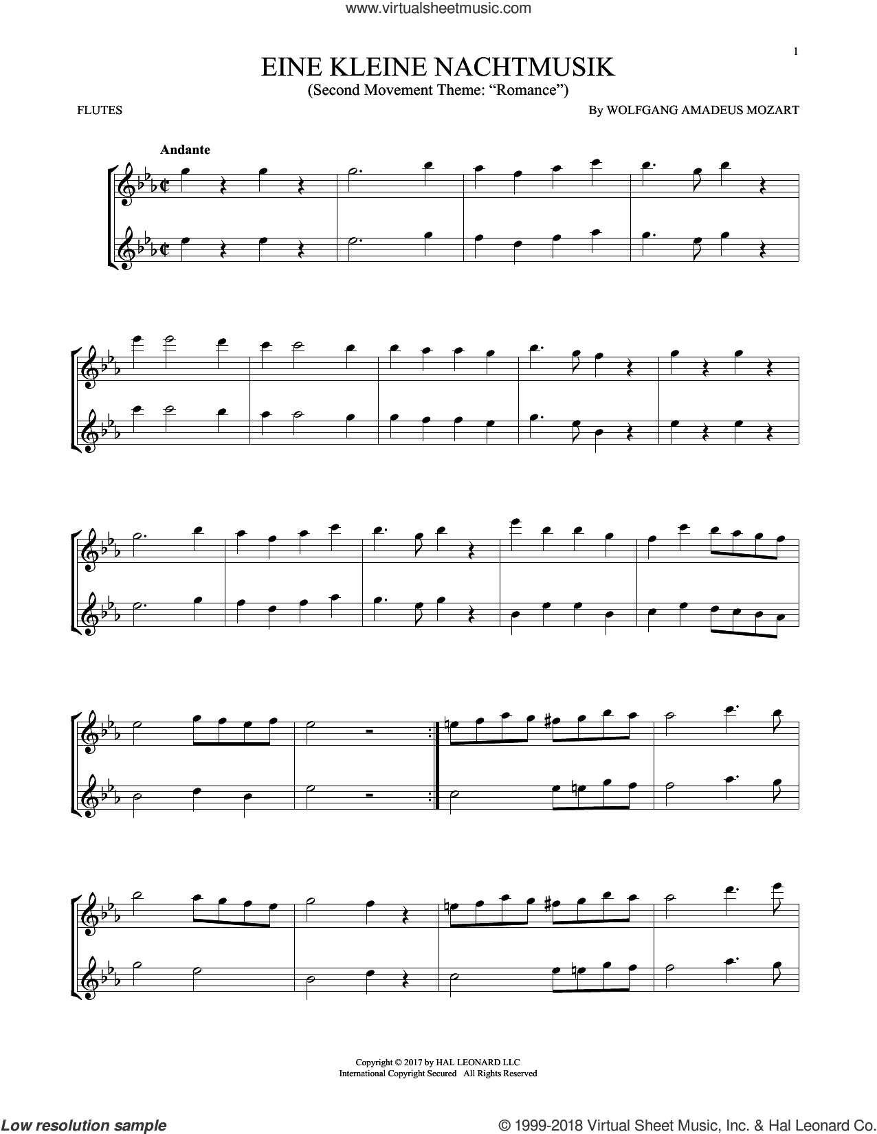 Eine Kleine Nachtmusik sheet music for two flutes (duets) by Wolfgang Amadeus Mozart, classical score, intermediate skill level