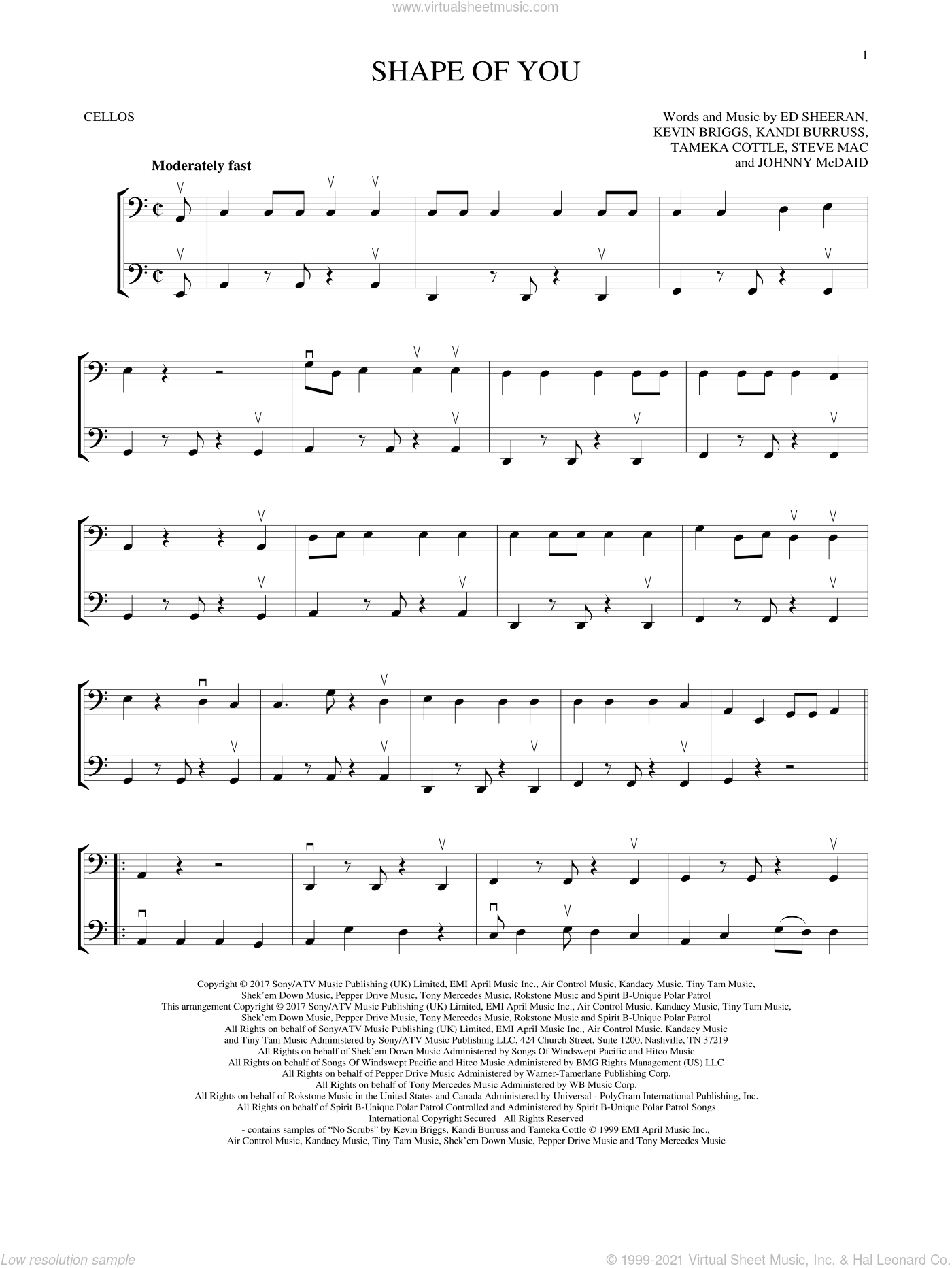 Shape Of You sheet music for two cellos (duet, duets) by Ed Sheeran, Johnny McDaid, Kandi Burruss, Kevin Briggs, Steve Mac and Tameka Cottle, intermediate skill level