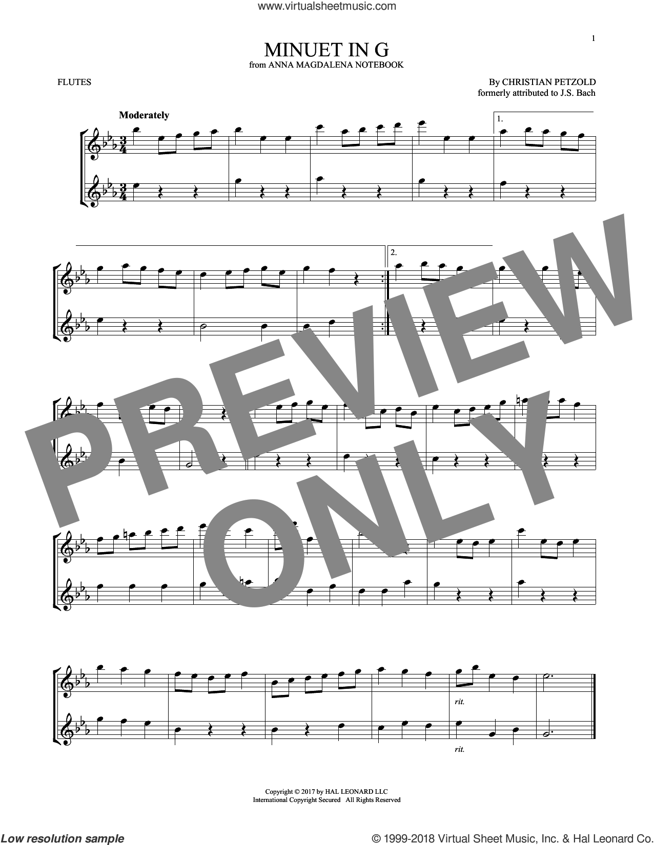 Minuet In G Major, BWV Anh. 114 sheet music for two flutes (duets) by Christian Petzold, classical score, intermediate skill level