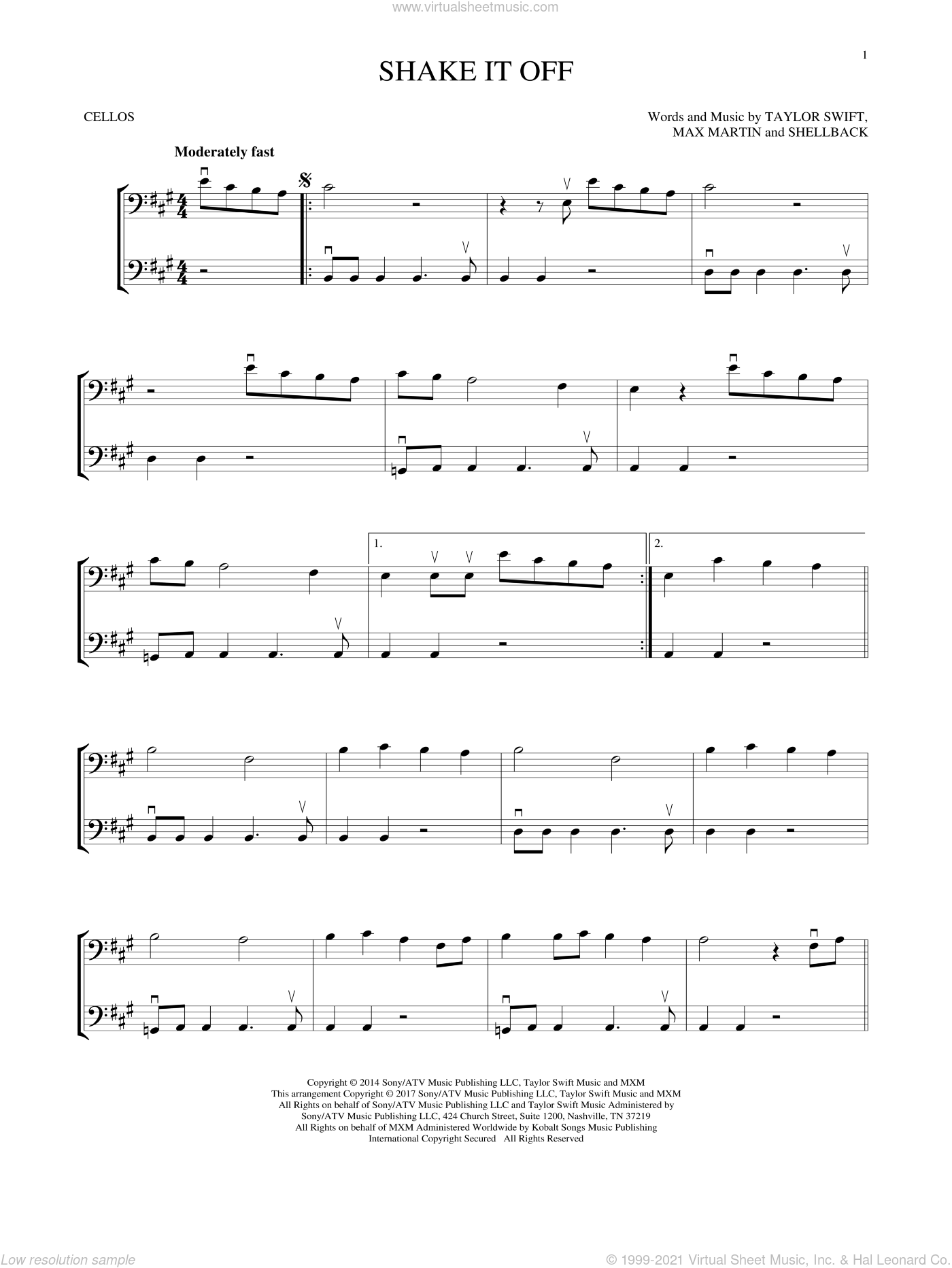 Shake It Off sheet music for two cellos (duet, duets) by Taylor Swift, Johan Schuster, Max Martin and Shellback, intermediate skill level
