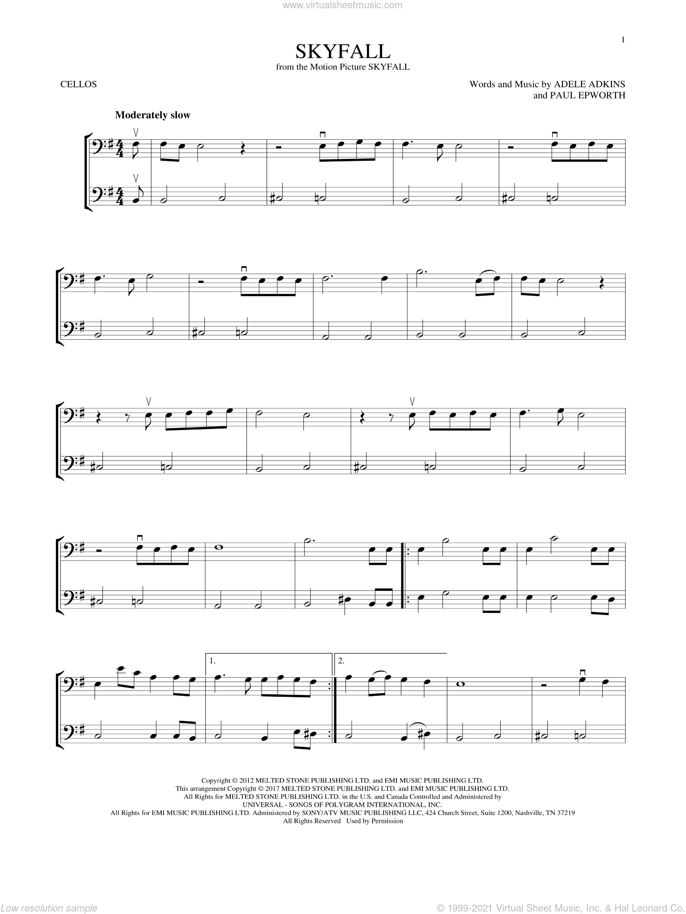 Skyfall sheet music for two cellos (duet, duets) by Adele, Adele Adkins and Paul Epworth, intermediate skill level