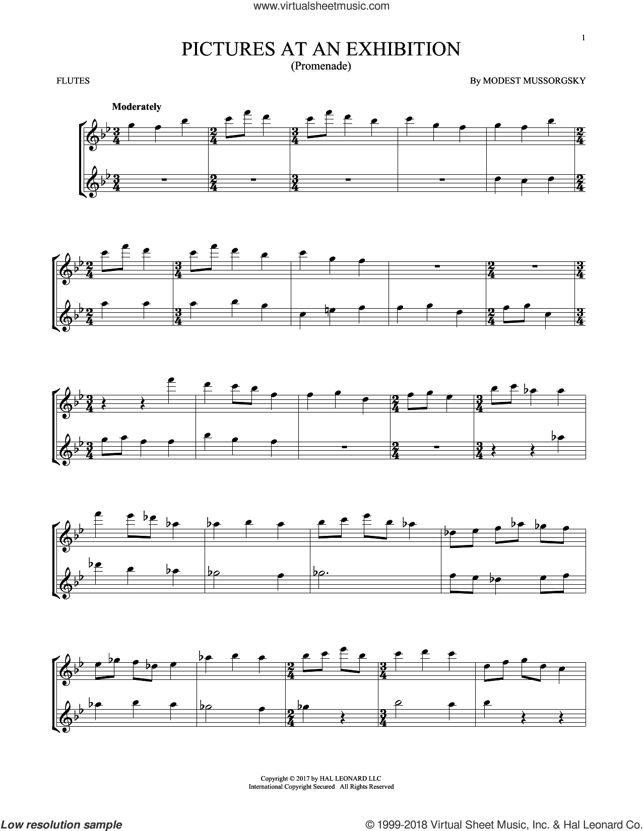 Pictures At An Exhibition sheet music for two flutes (duets) by Modest Petrovic Mussorgsky, classical score, intermediate skill level