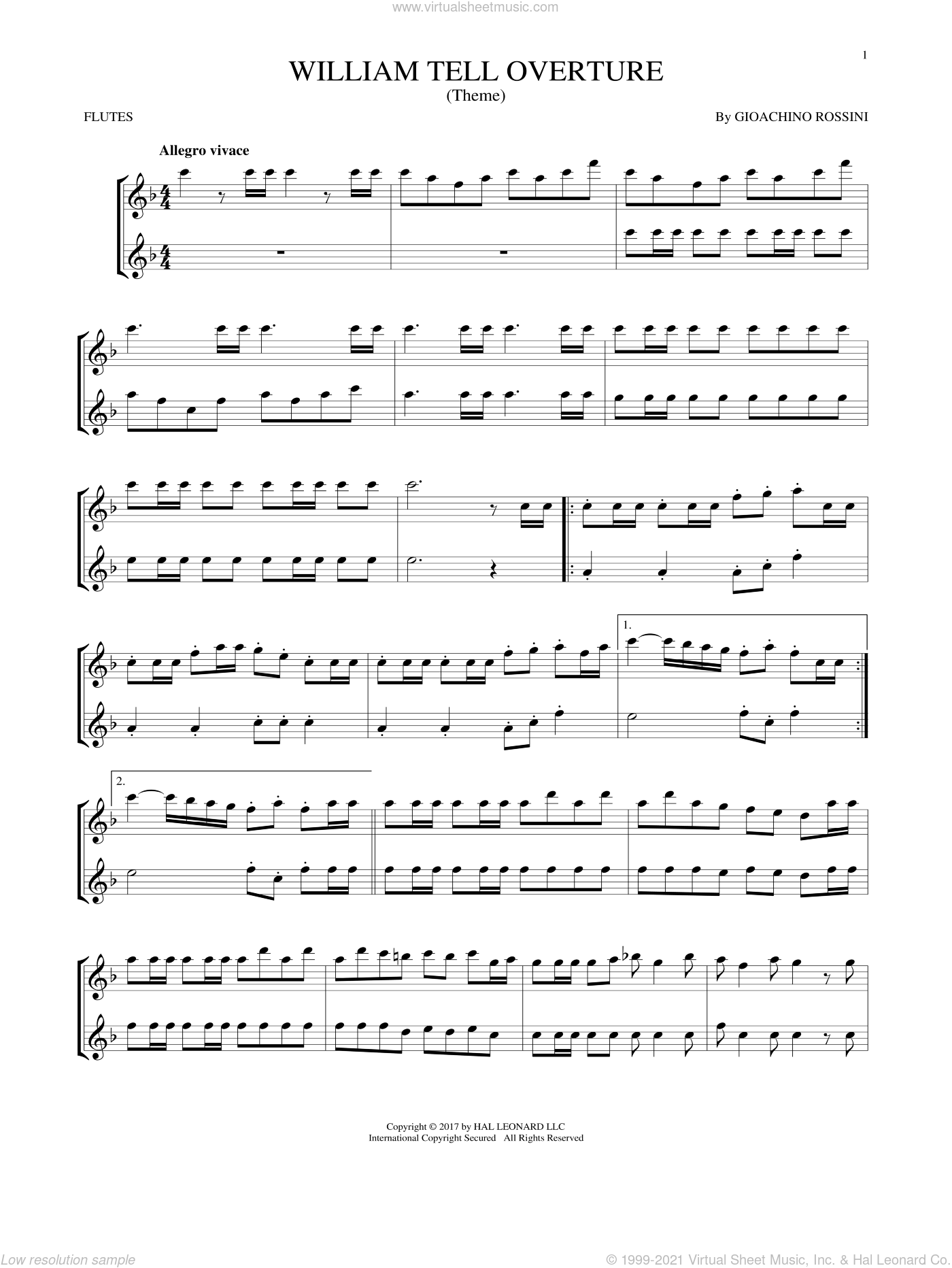 William Tell Overture sheet music for two flutes (duets) by Rossini, Gioacchino, classical score, intermediate skill level