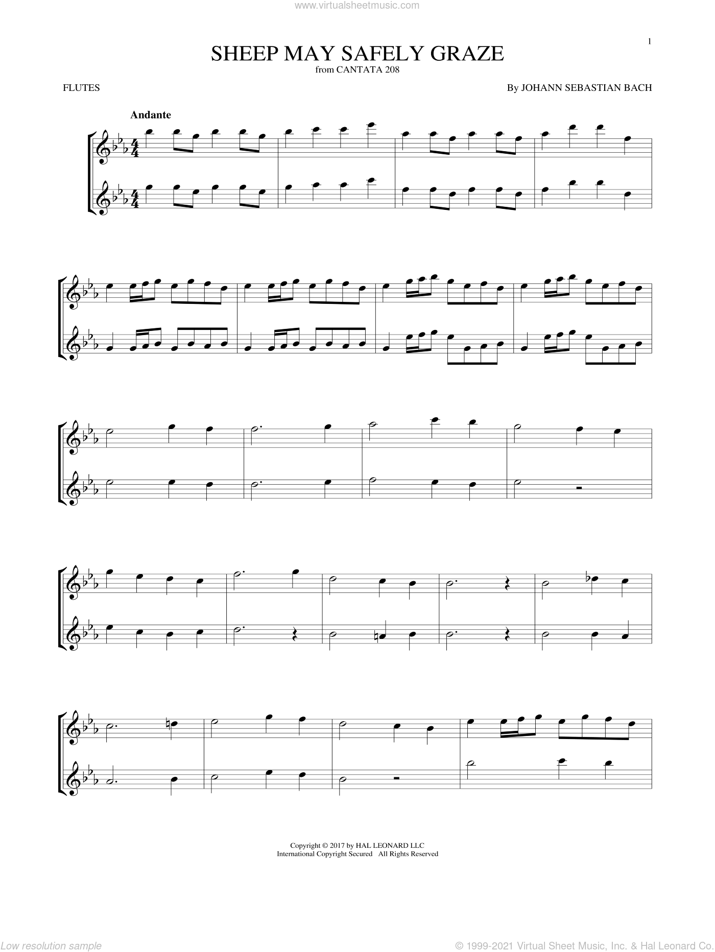 Sheep May Safely Graze sheet music for two flutes (duets) by Johann Sebastian Bach, classical score, intermediate skill level