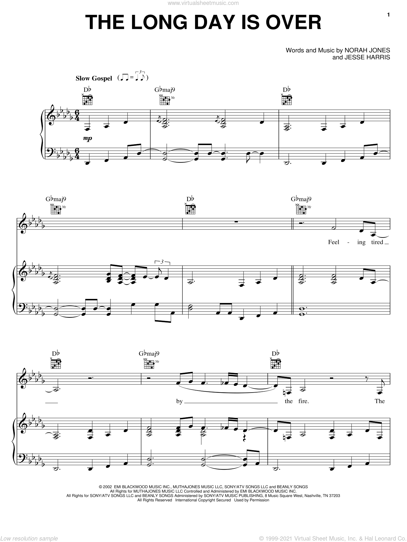 The Long Day Is Over sheet music for voice, piano or guitar by Norah Jones and Jesse Harris, intermediate skill level
