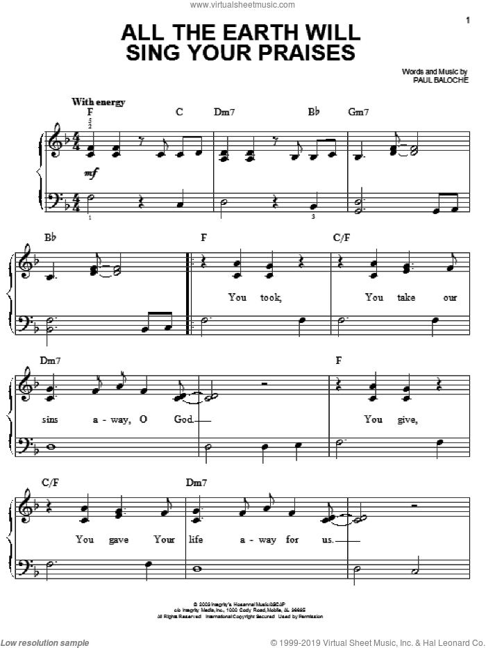 All The Earth Will Sing Your Praises sheet music for piano solo by Paul Baloche, easy. Score Image Preview.