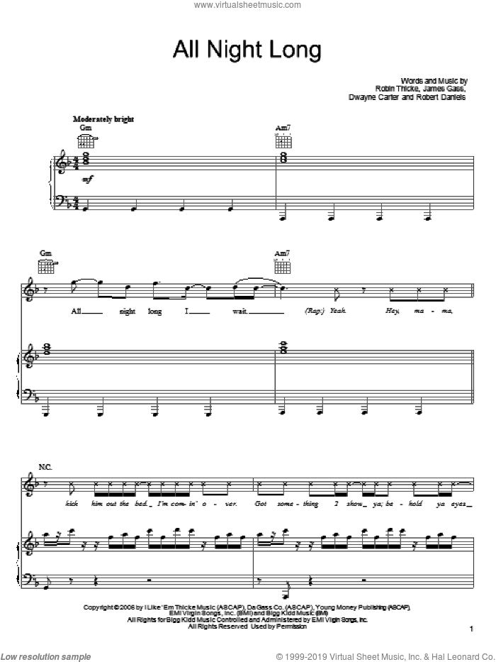 All Night Long sheet music for voice, piano or guitar by Robin Thicke and Dwayne Carter. Score Image Preview.