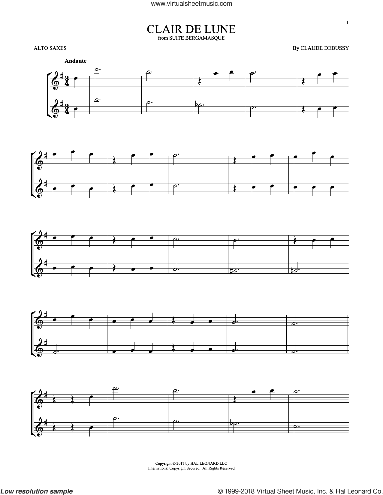 Clair De Lune sheet music for two alto saxophones (duets) by Claude Debussy, classical score, intermediate skill level
