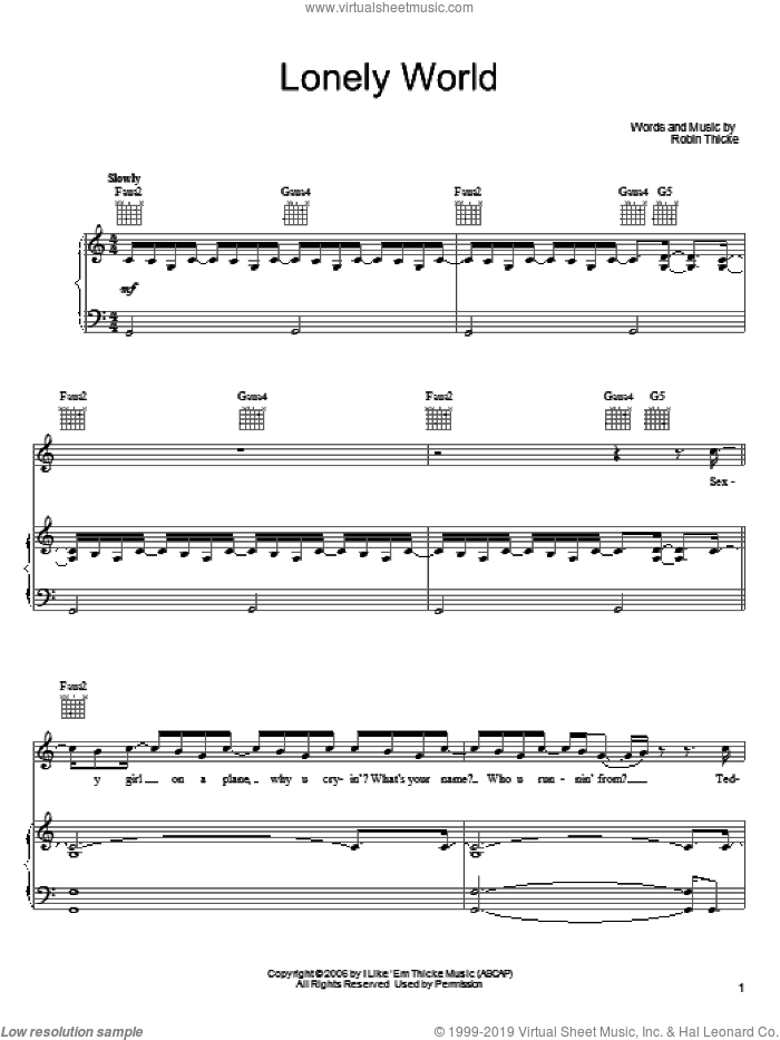 Lonely World sheet music for voice, piano or guitar by Robin Thicke, intermediate voice, piano or guitar. Score Image Preview.