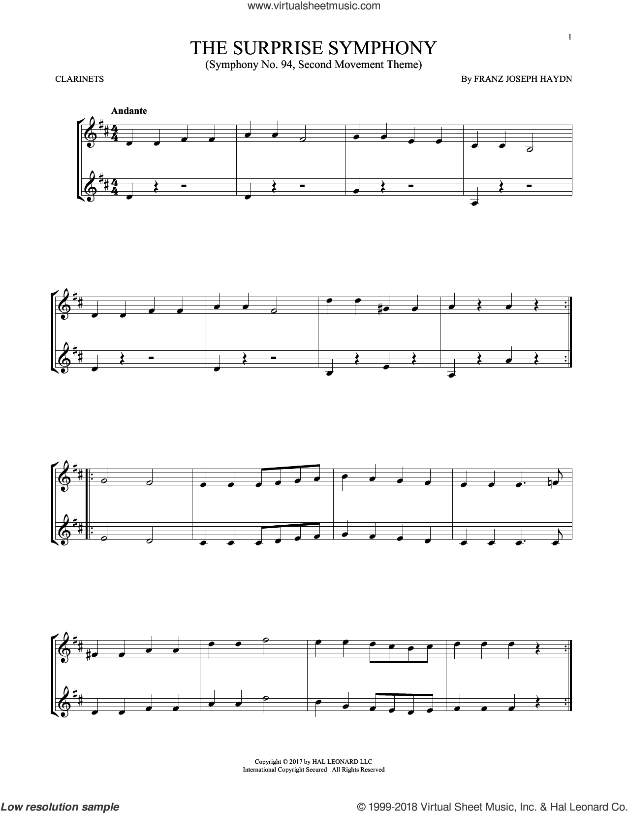 The Surprise Symphony sheet music for two clarinets (duets) by Franz Joseph Haydn, classical score, intermediate skill level