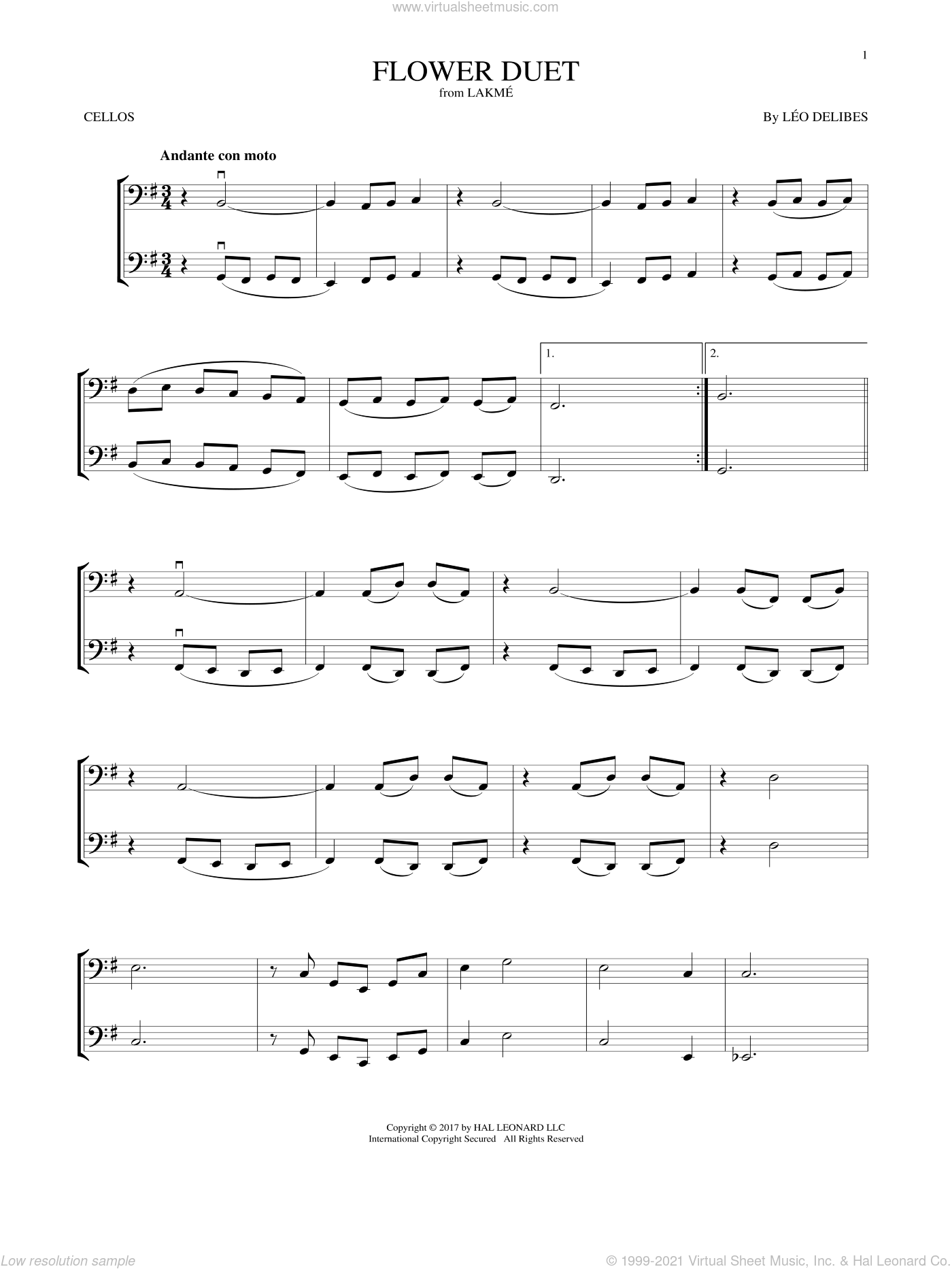 Flower Duet sheet music for two cellos (duet, duets) by Leo Delibes, classical score, intermediate skill level