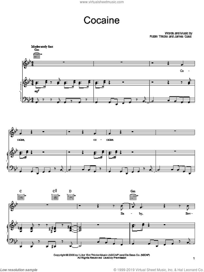 Cocaine sheet music for voice, piano or guitar by James Gass and Robin Thicke. Score Image Preview.