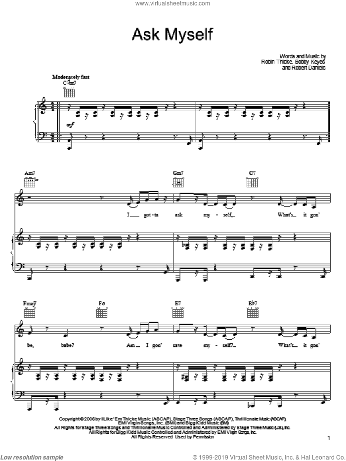 Ask Myself sheet music for voice, piano or guitar by Robin Thicke, intermediate voice, piano or guitar. Score Image Preview.