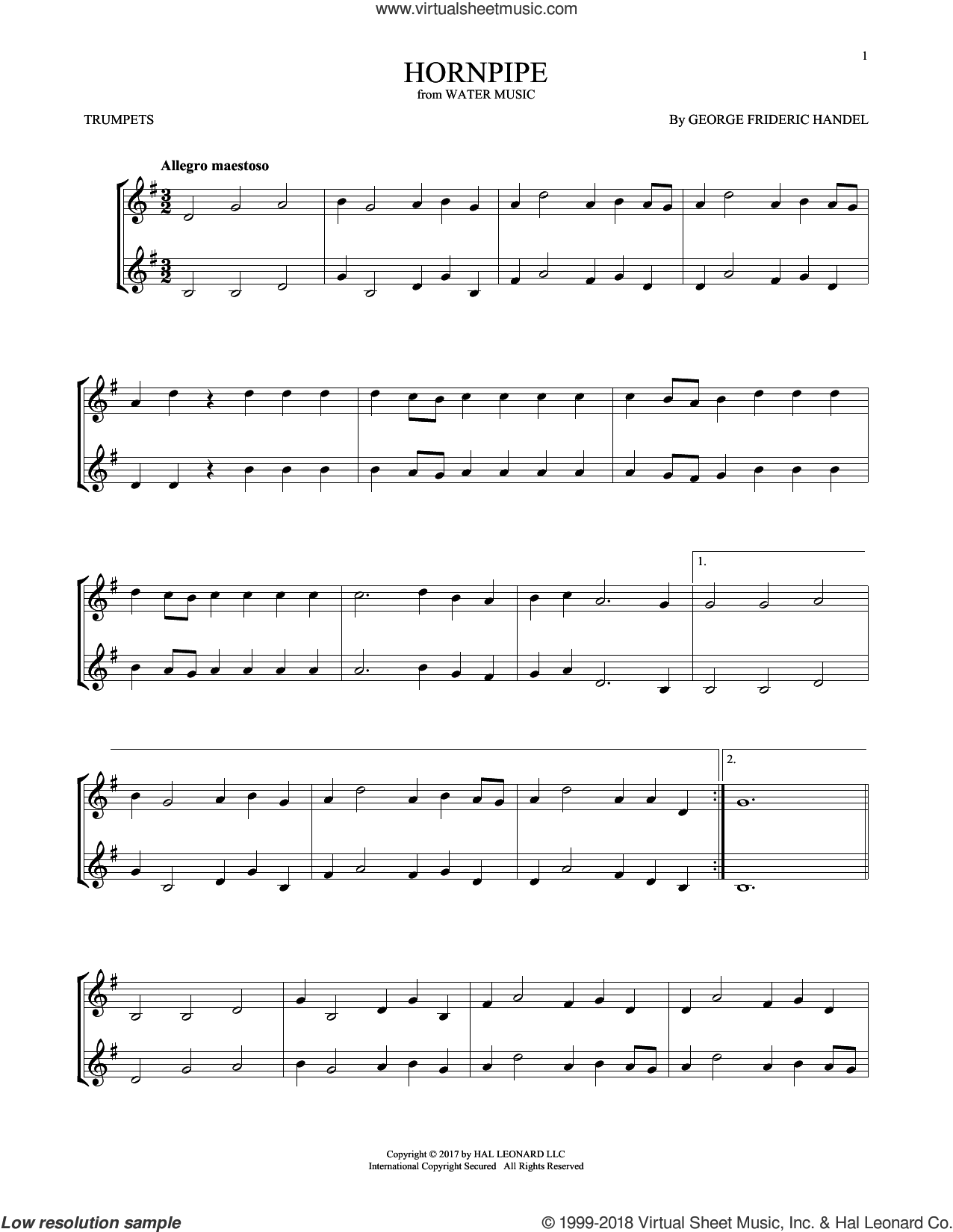 Hornpipe sheet music for two trumpets (duet, duets) by George Frideric Handel, classical score, intermediate skill level