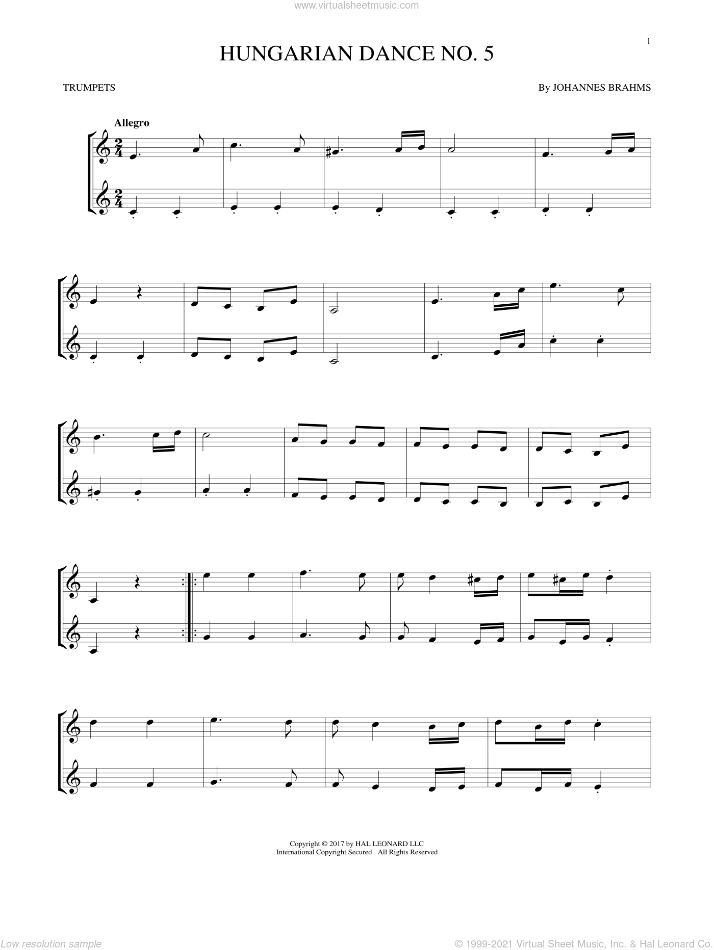Hungarian Dance No. 5 sheet music for two trumpets (duet, duets) by Johannes Brahms, classical score, intermediate skill level