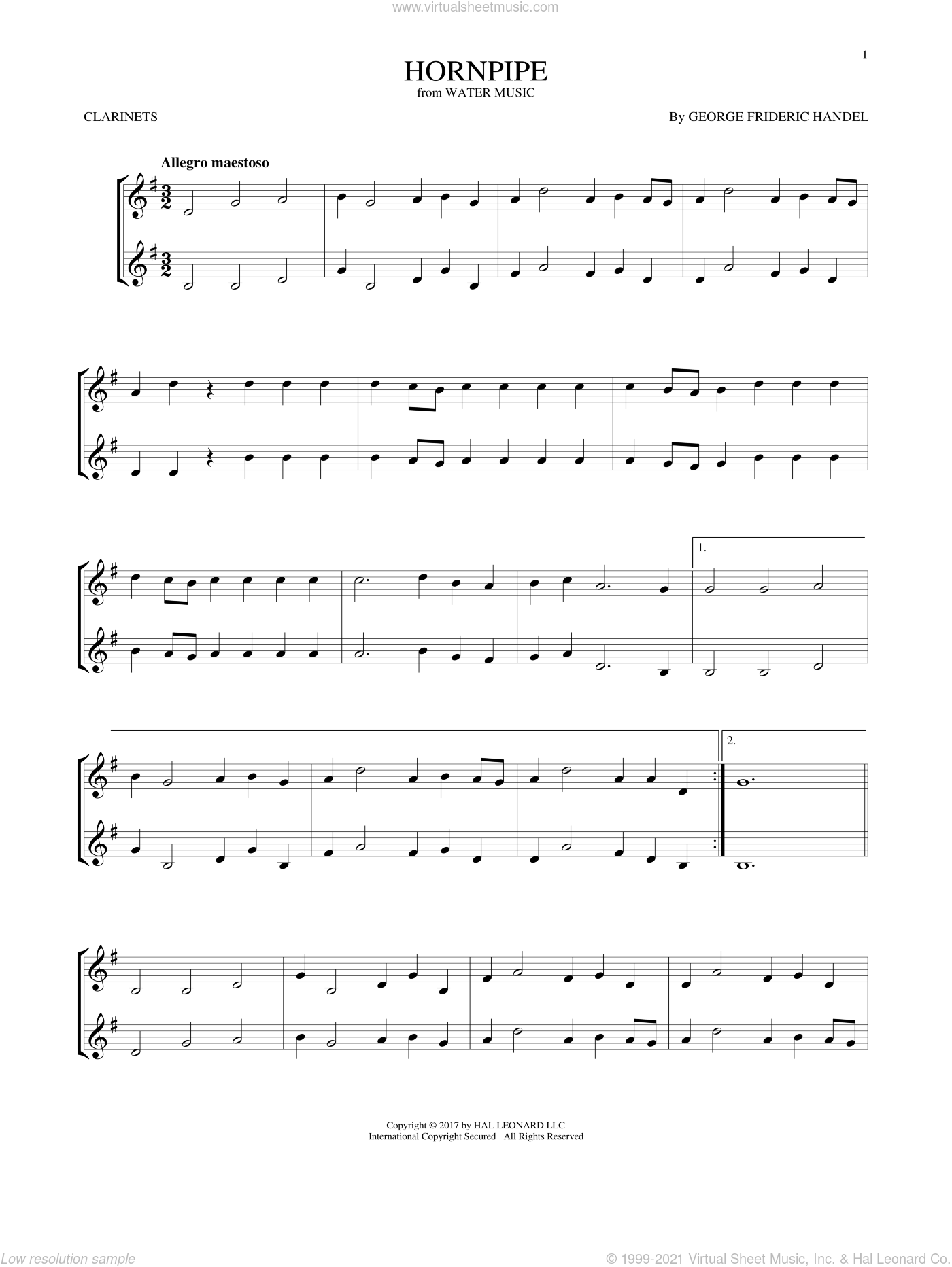 Hornpipe sheet music for two clarinets (duets) by George Frideric Handel, classical score, intermediate skill level