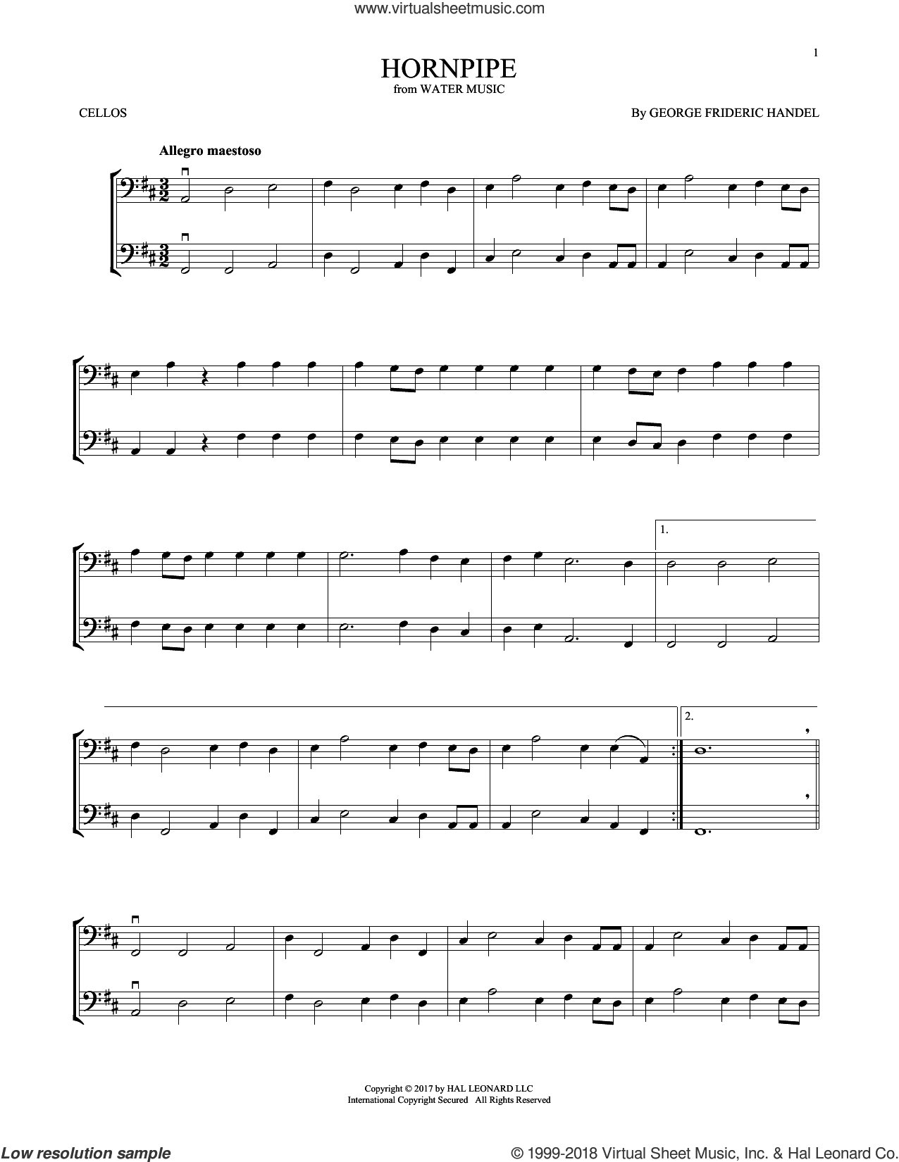 Hornpipe sheet music for two cellos (duet, duets) by George Frideric Handel, classical score, intermediate skill level