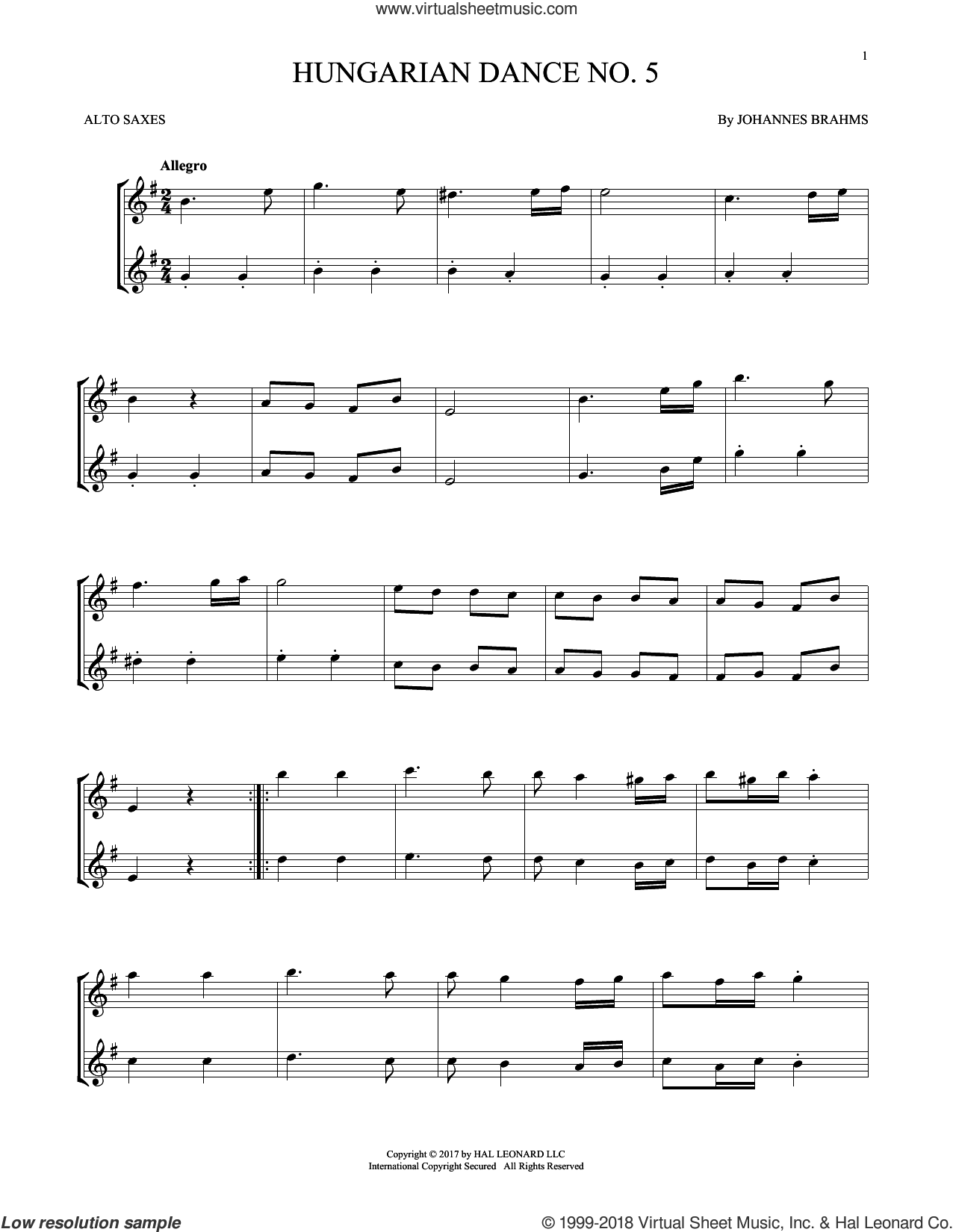 Hungarian Dance No. 5 sheet music for two alto saxophones (duets) by Johannes Brahms, classical score, intermediate skill level