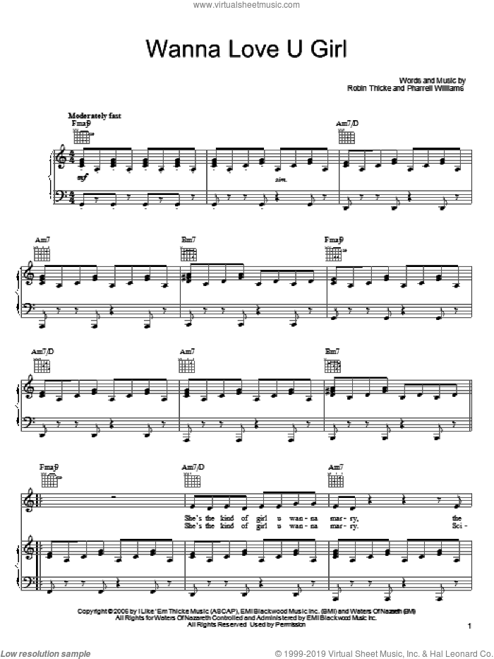 Wanna Love U Girl sheet music for voice, piano or guitar by Robin Thicke and Pharrell Williams, intermediate