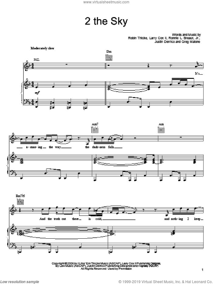 2 The Sky sheet music for voice, piano or guitar by Ronnie L. Breaux, Jr. and Robin Thicke. Score Image Preview.