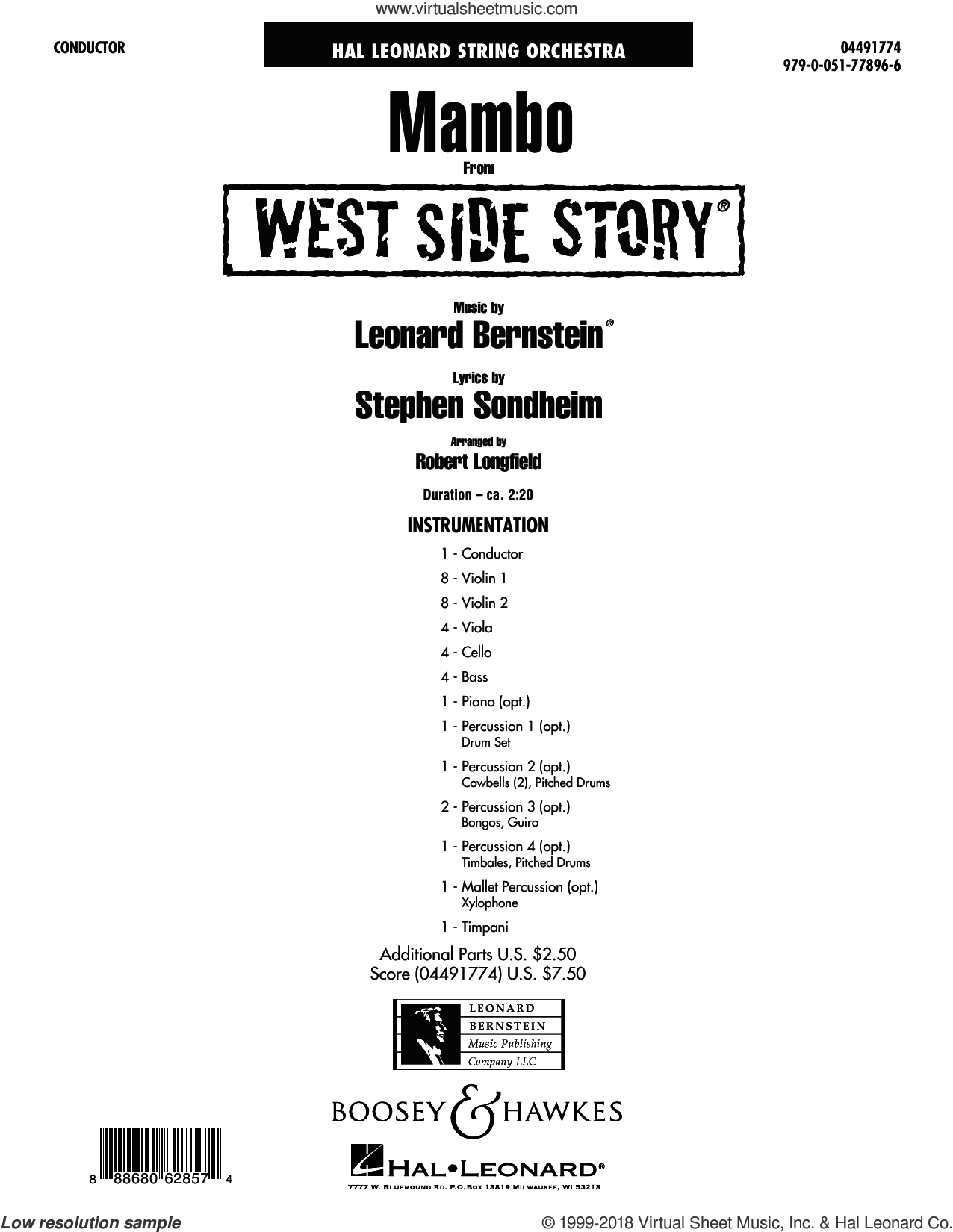 Mambo (from West Side Story) (COMPLETE) sheet music for orchestra by Stephen Sondheim, Leonard Bernstein and Robert Longfield, intermediate skill level
