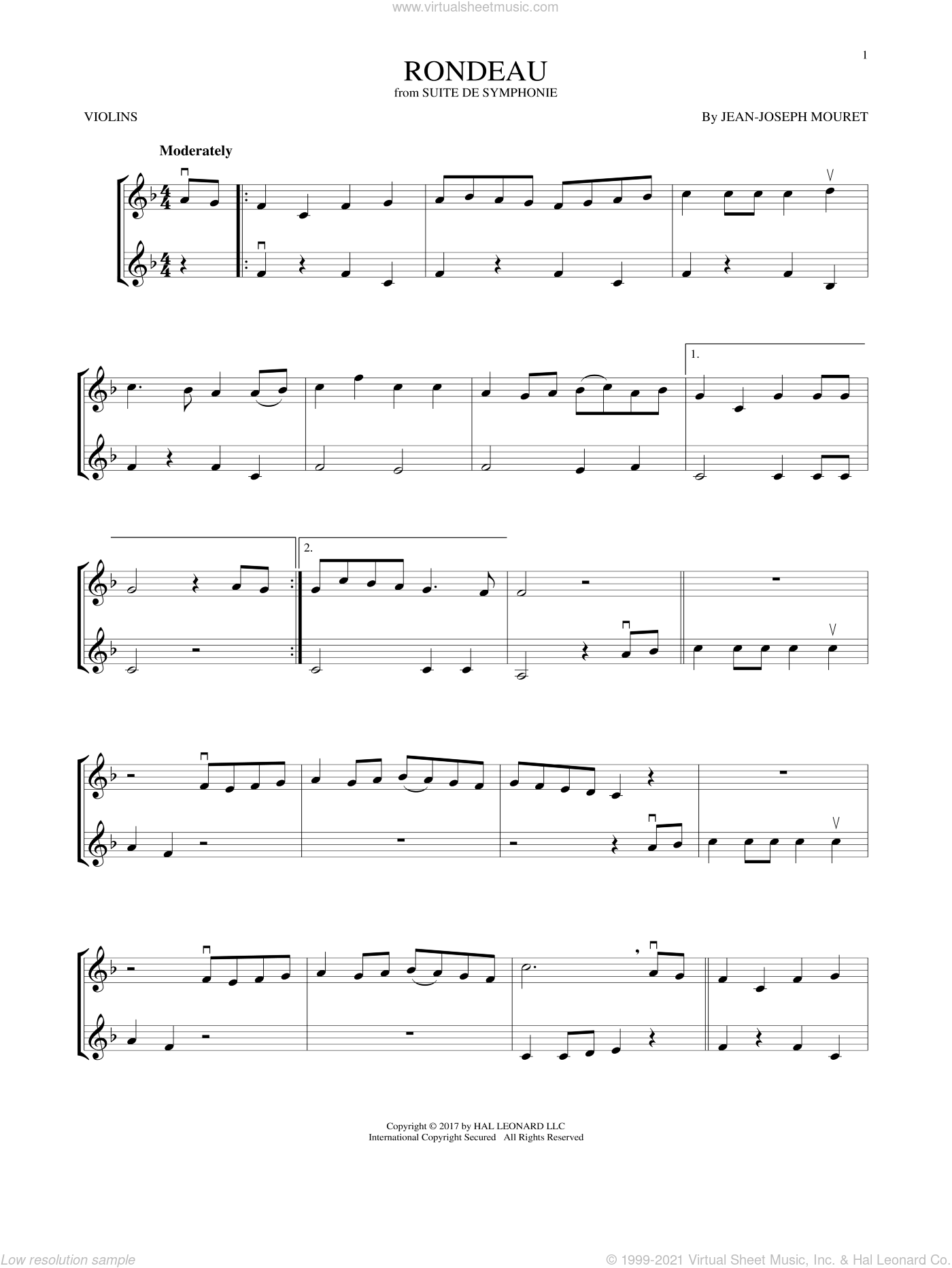 Fanfare Rondeau sheet music for two violins (duets, violin duets) by Jean-Joseph Mouret, classical score, intermediate skill level