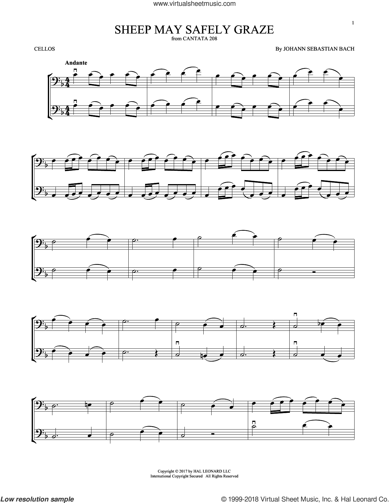 Sheep May Safely Graze sheet music for two cellos (duet, duets) by Johann Sebastian Bach, classical score, intermediate skill level