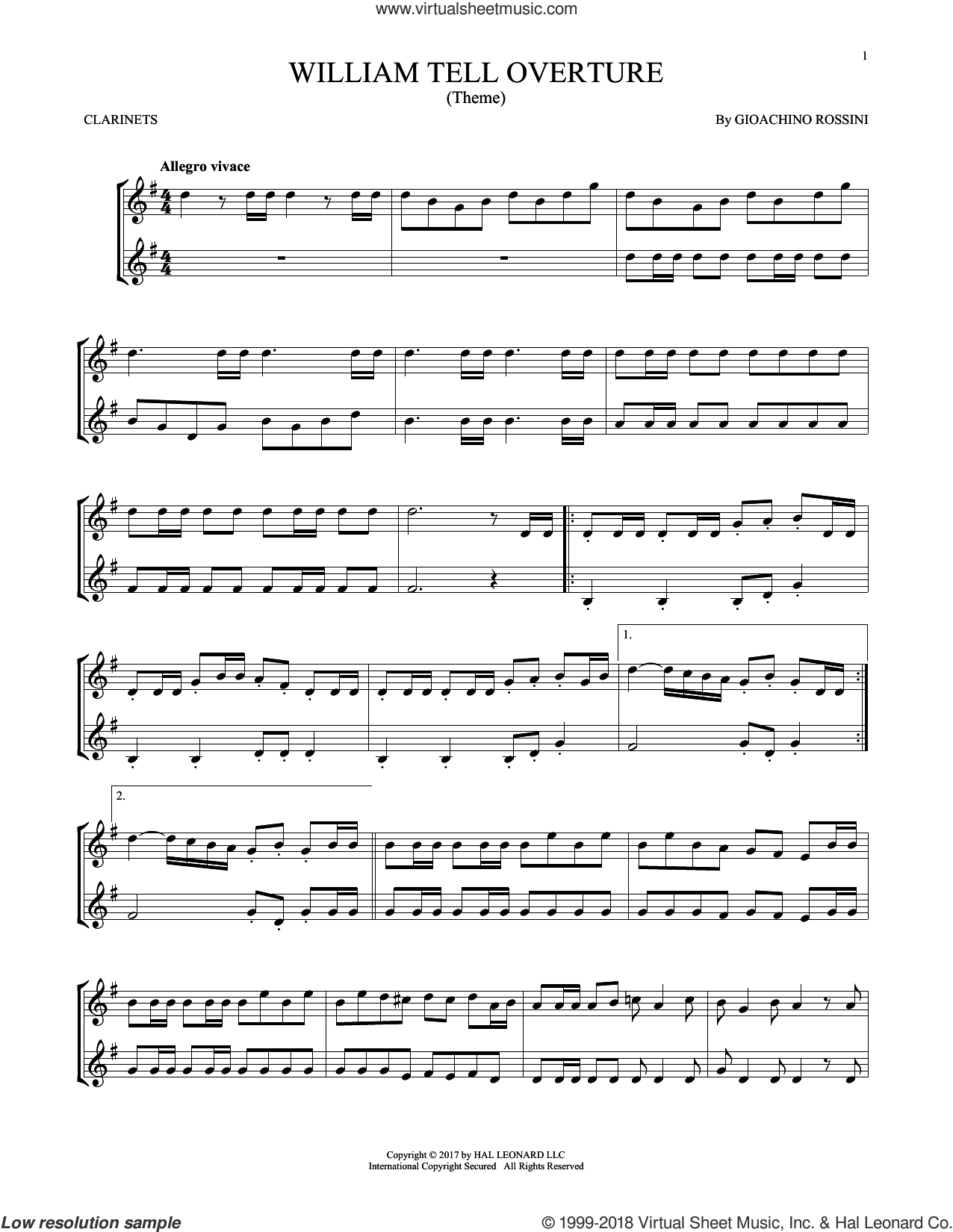 William Tell Overture sheet music for two clarinets (duets) by Rossini, Gioacchino, classical score, intermediate skill level