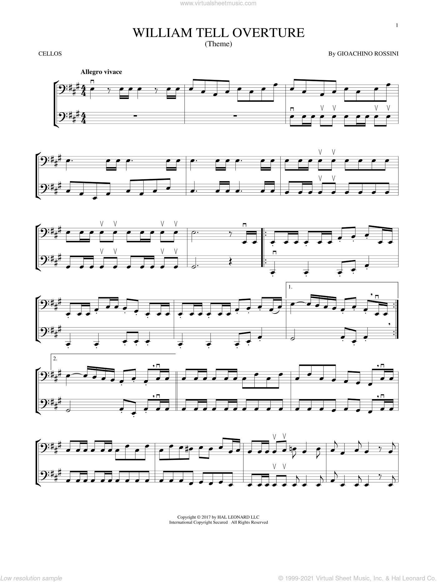 William Tell Overture sheet music for two cellos (duet, duets) by Rossini, Gioacchino, classical score, intermediate skill level