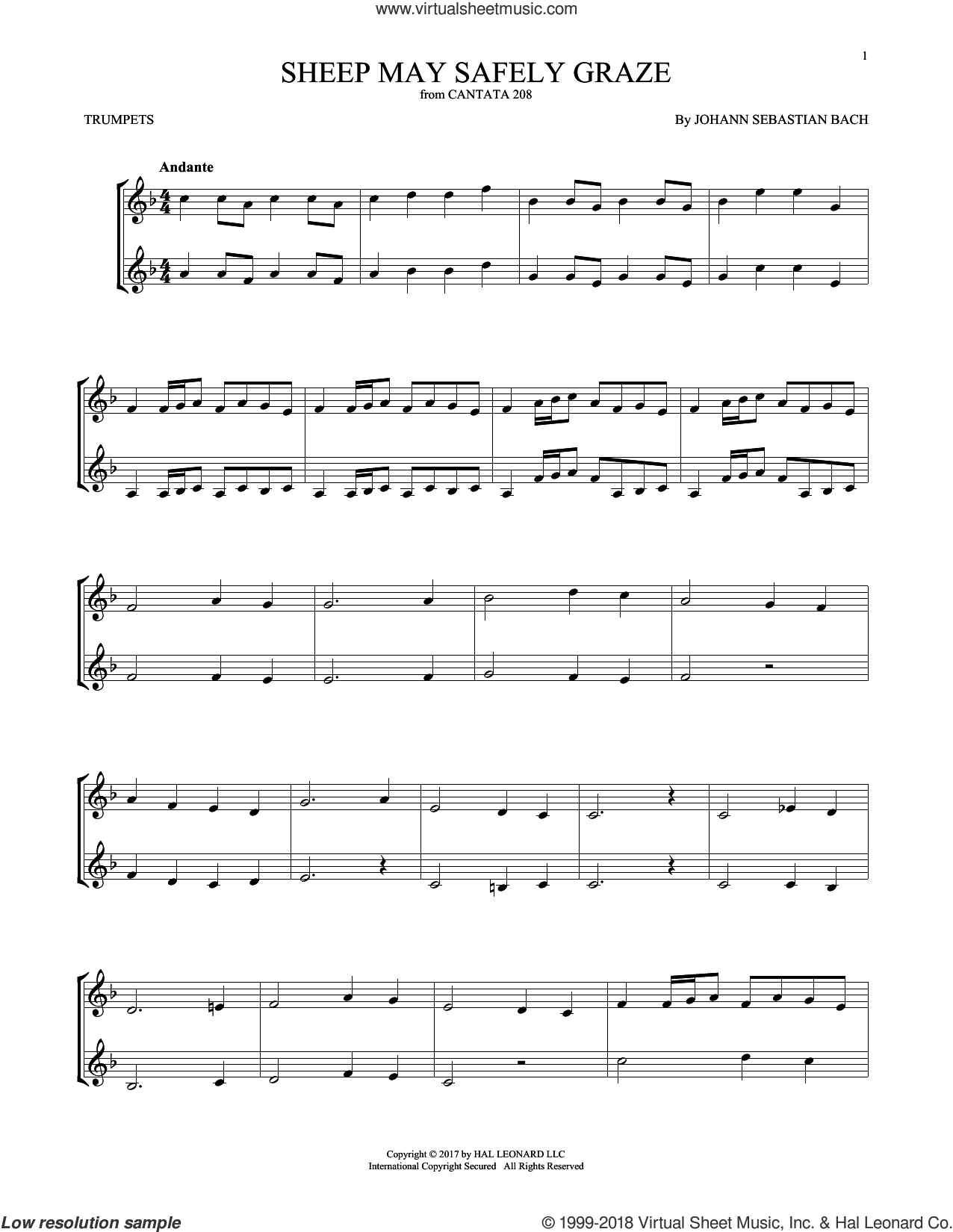 Sheep May Safely Graze sheet music for two trumpets (duet, duets) by Johann Sebastian Bach, classical score, intermediate skill level