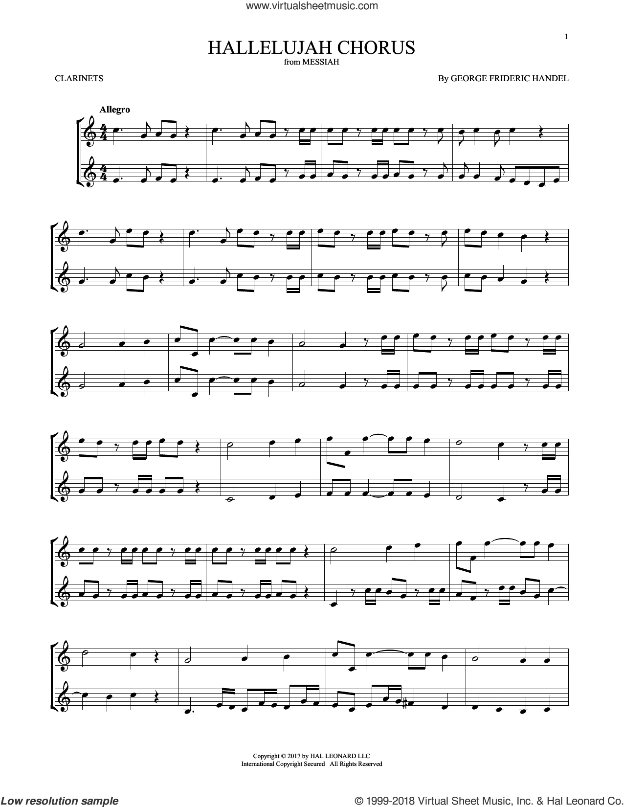 Hallelujah Chorus sheet music for two clarinets (duets) by George Frideric Handel, classical score, intermediate skill level