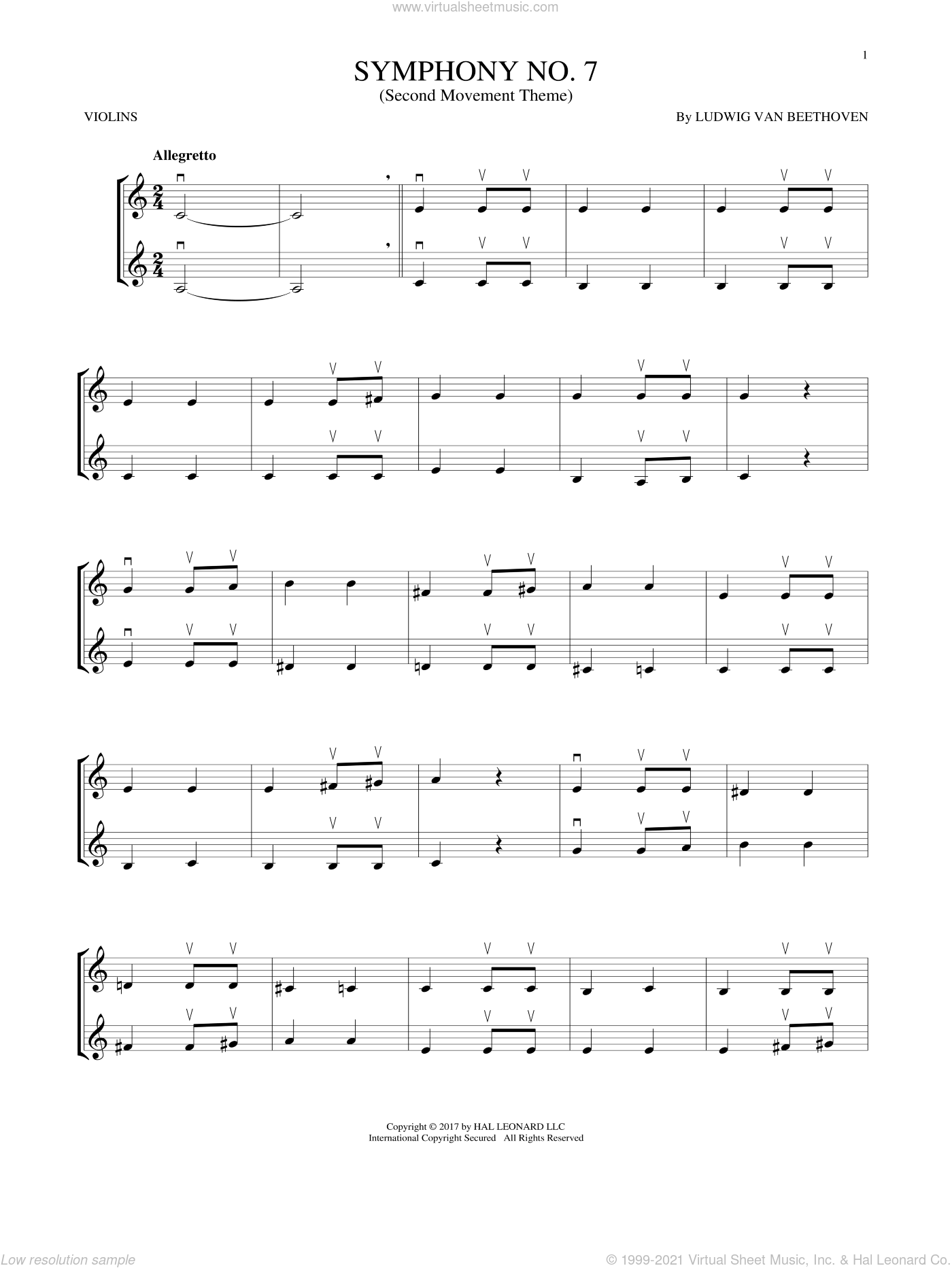 Symphony No. 7 In A Major, Second Movement (Allegretto) sheet music for two violins (duets, violin duets) by Ludwig van Beethoven, classical score, intermediate skill level