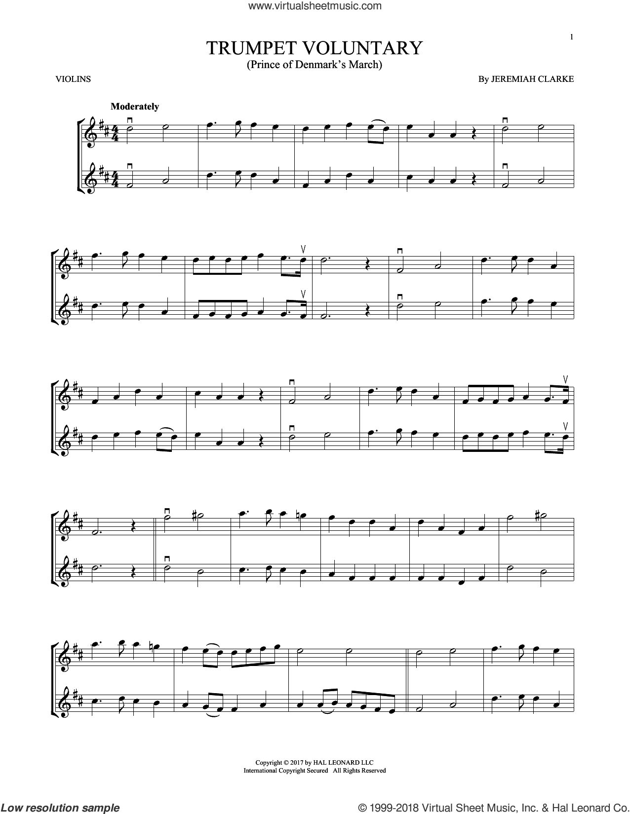 Trumpet Voluntary sheet music for two violins (duets, violin duets) by Jeremiah Clarke, classical score, intermediate skill level