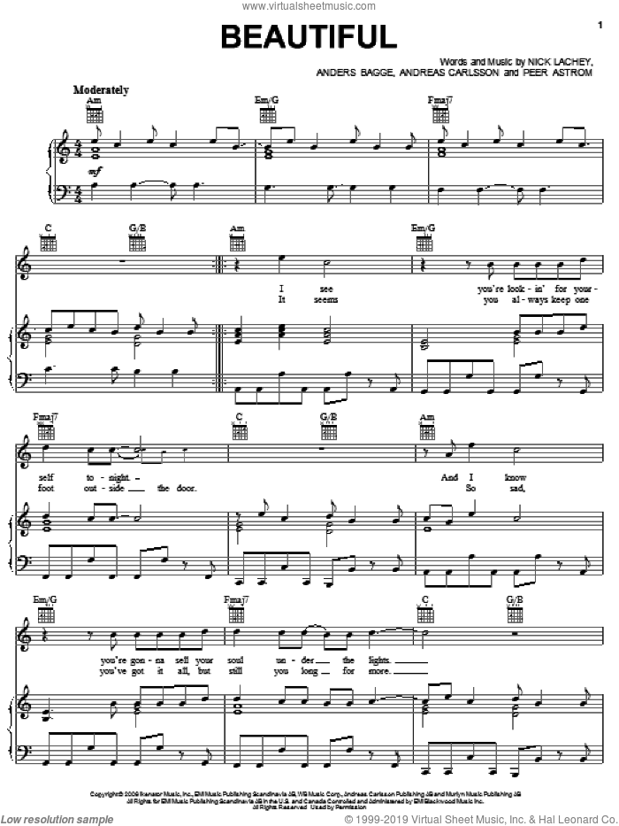 Beautiful sheet music for voice, piano or guitar by Nick Lachey, Andreas Carlsson and Peer Astrom. Score Image Preview.