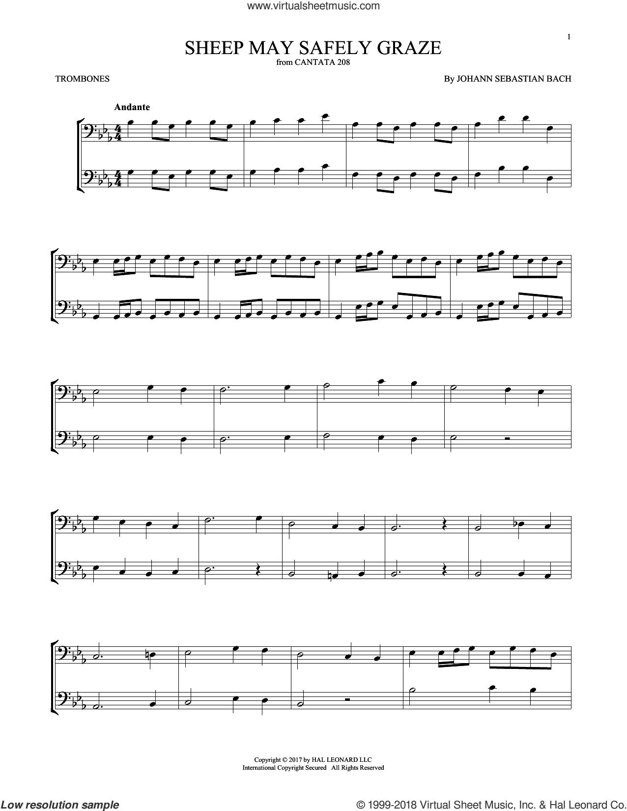Sheep May Safely Graze sheet music for two trombones (duet, duets) by Johann Sebastian Bach, classical score, intermediate skill level