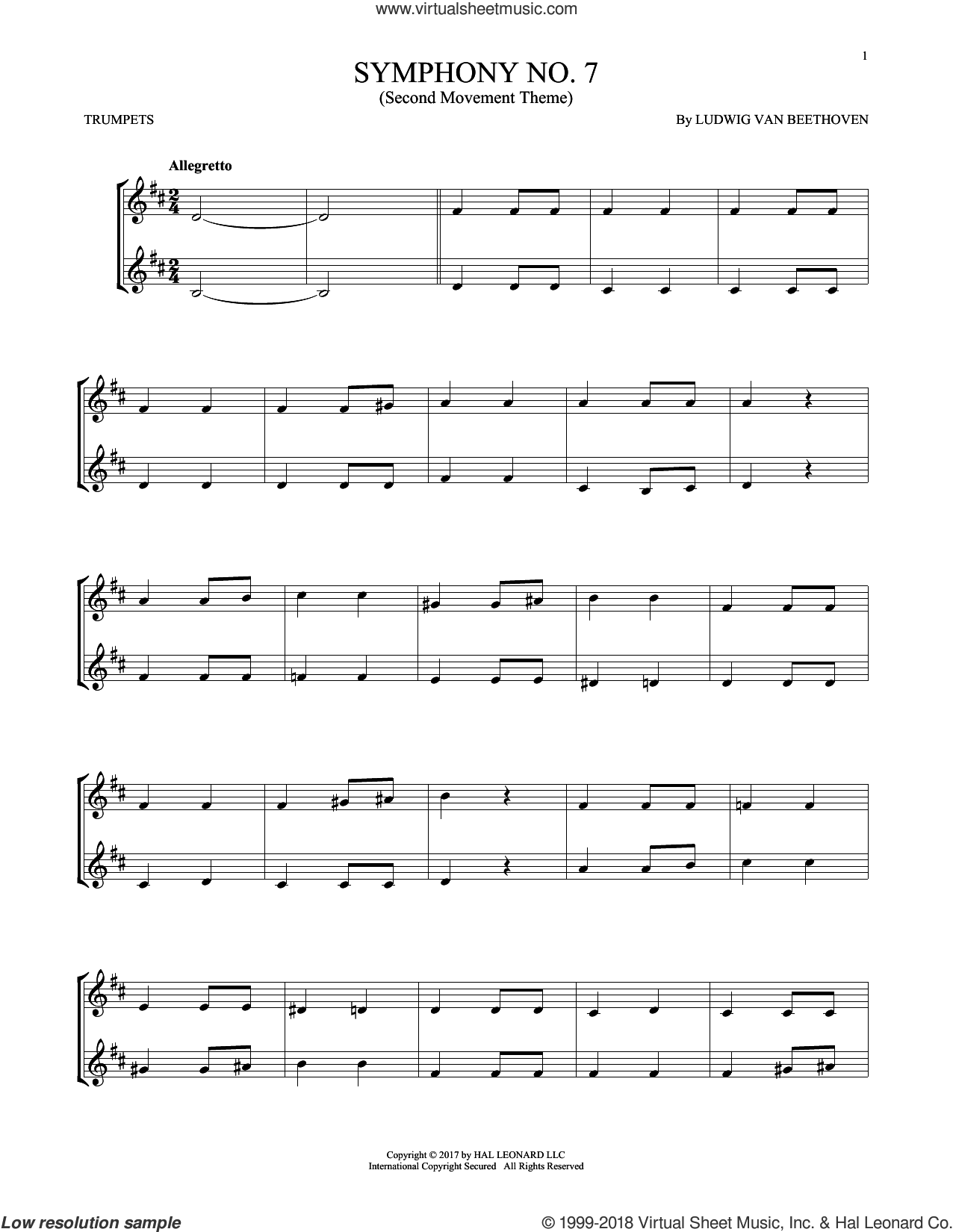 Symphony No. 7 In A Major, Second Movement (Allegretto) sheet music for two trumpets (duet, duets) by Ludwig van Beethoven, classical score, intermediate skill level