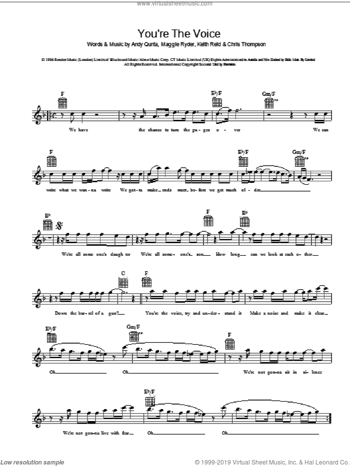 You're The Voice sheet music for voice and other instruments (fake book) by Andy Qunta, Keith Reid and Maggie Ryder. Score Image Preview.