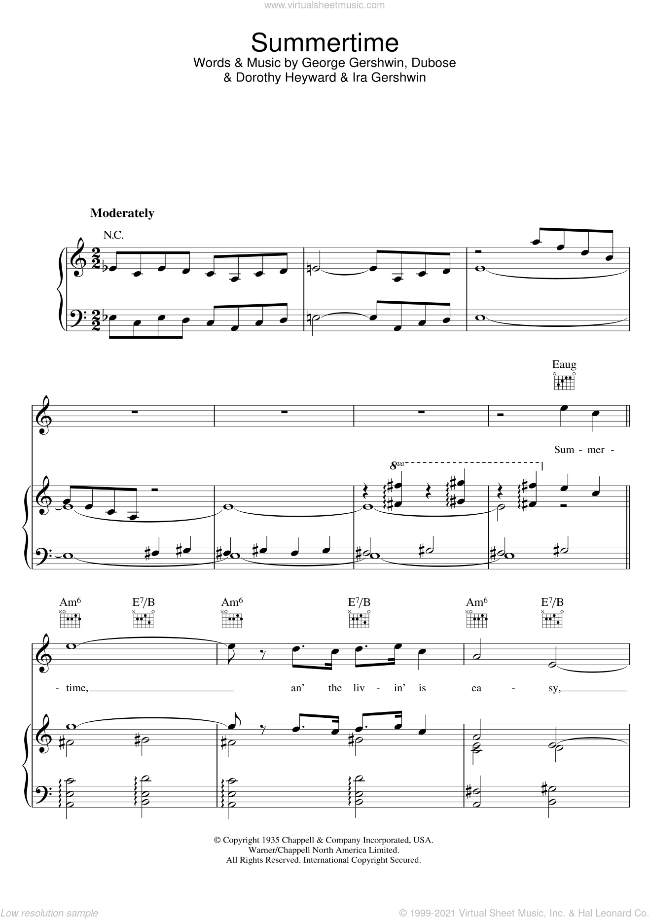 Summertime (from Porgy And Bess) sheet music for voice, piano or guitar by George Gershwin, Dorothy Heyward, DuBose Heyward and Ira Gershwin, intermediate skill level
