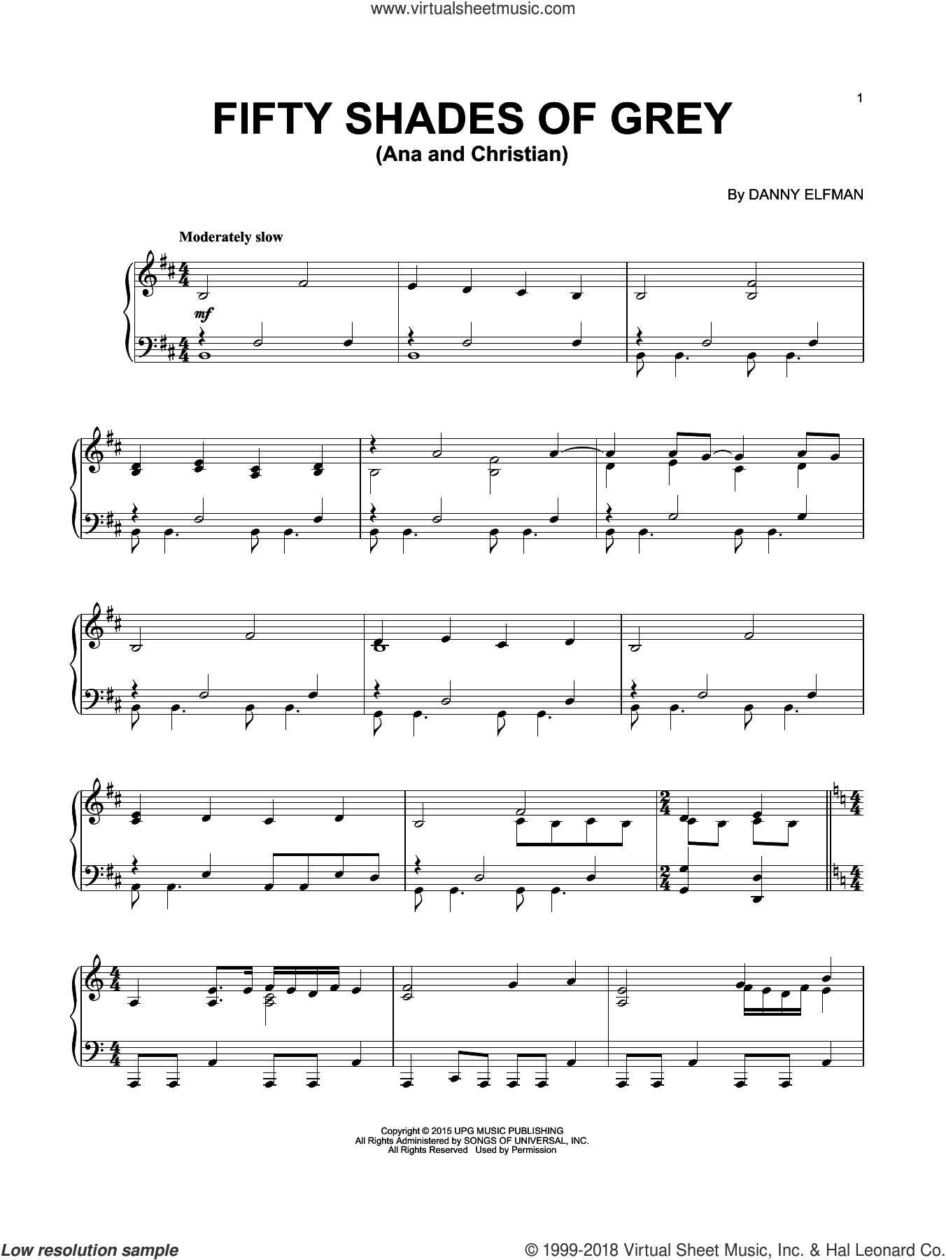 Ana And Christian sheet music for piano solo by Danny Elfman, intermediate skill level