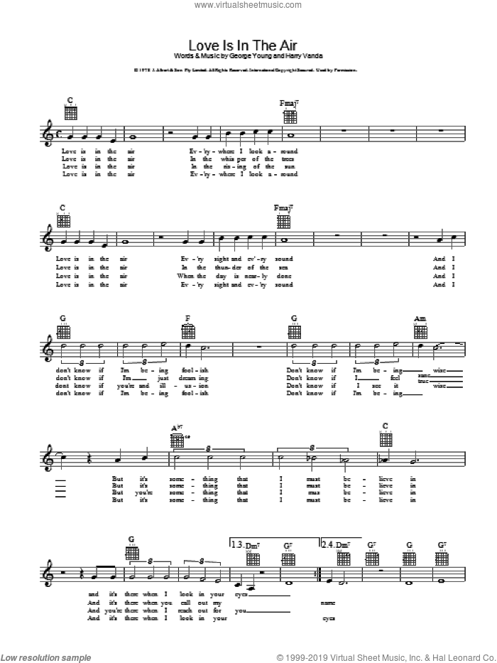 Love Is In The Air sheet music for voice and other instruments (fake book) by John Young and Harry Vanda, intermediate voice. Score Image Preview.